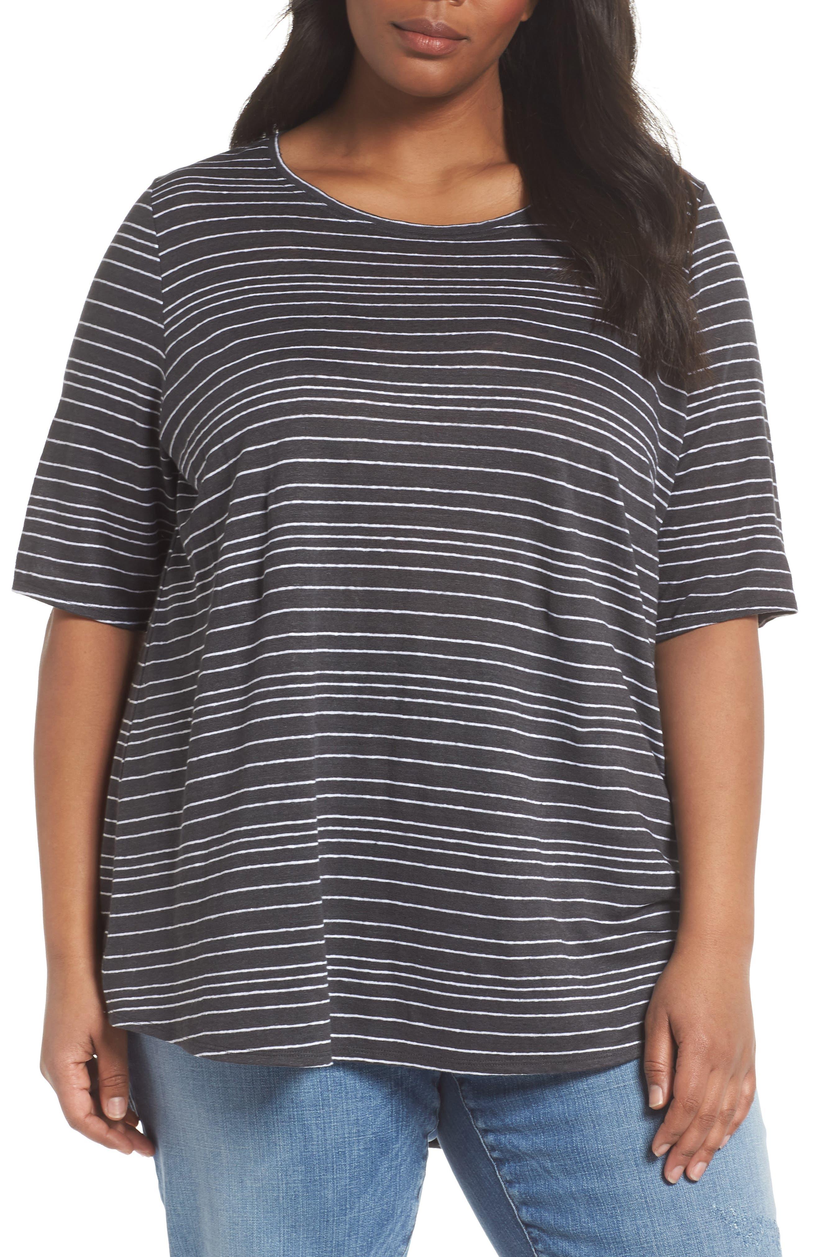 Stripe Organic Linen Top,                         Main,                         color,