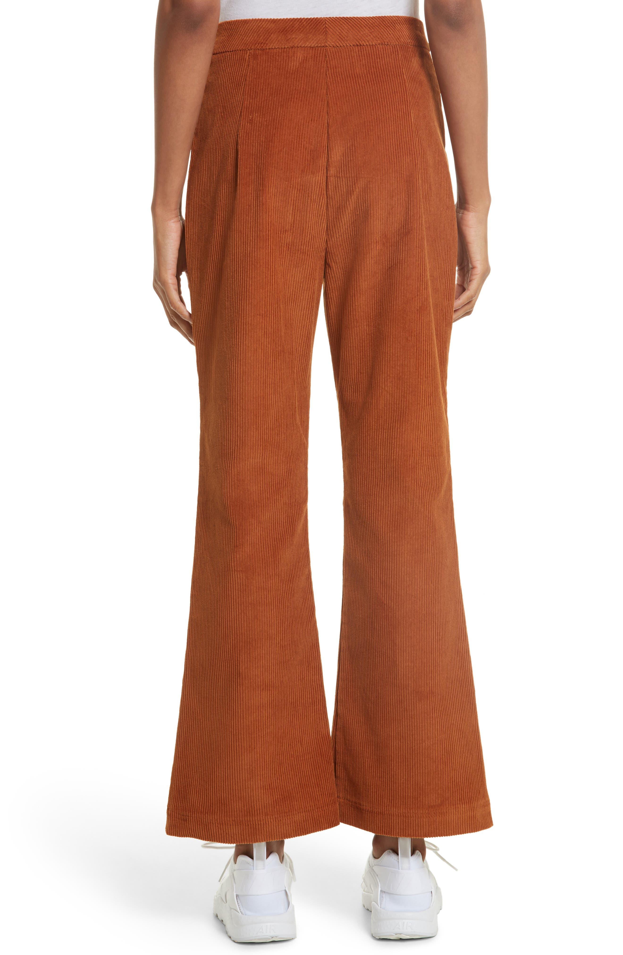 Crop Flare Corduroy Trousers,                             Alternate thumbnail 2, color,                             200
