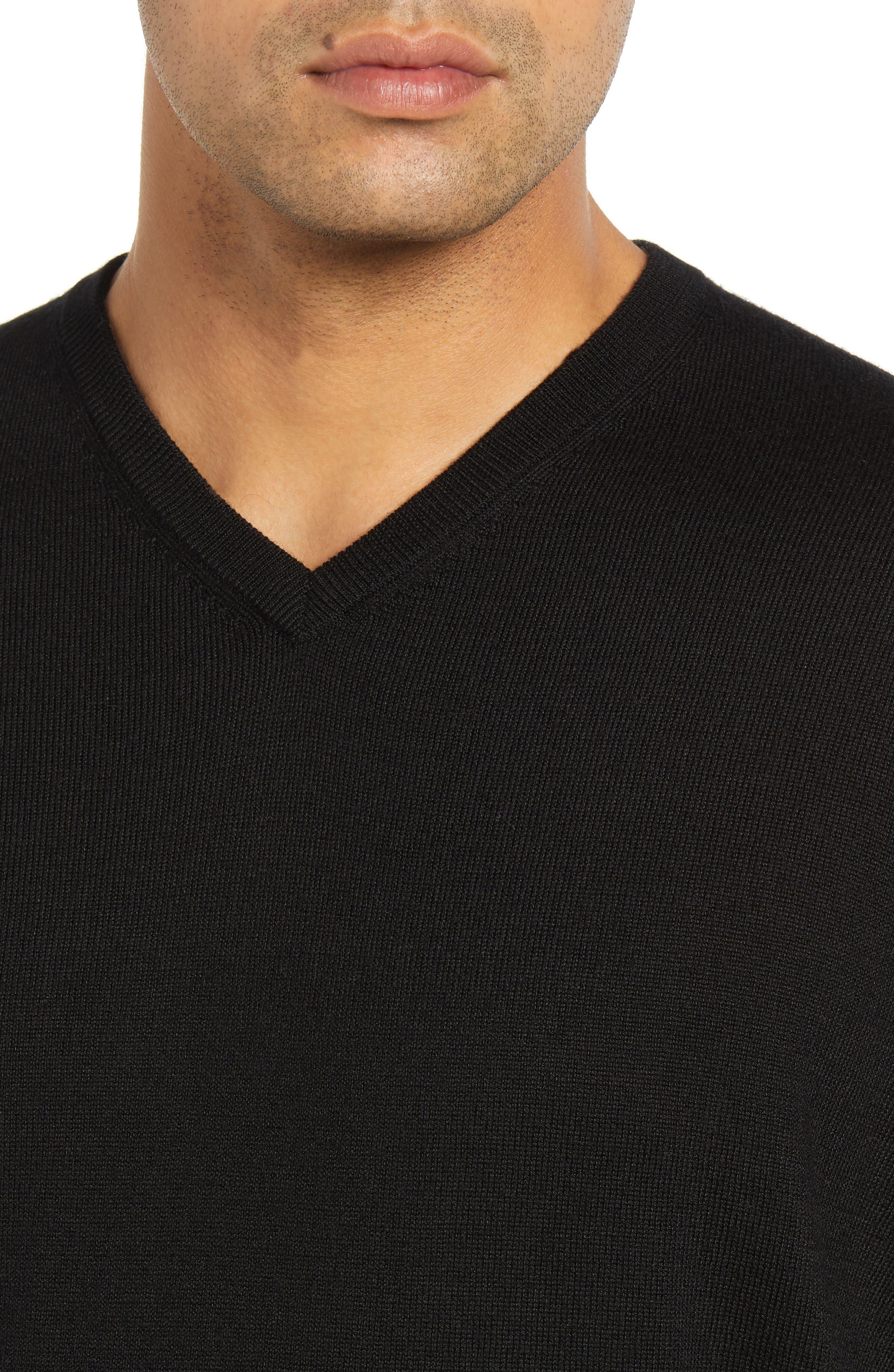 Wool & Silk V-Neck Sweater,                             Alternate thumbnail 4, color,                             001