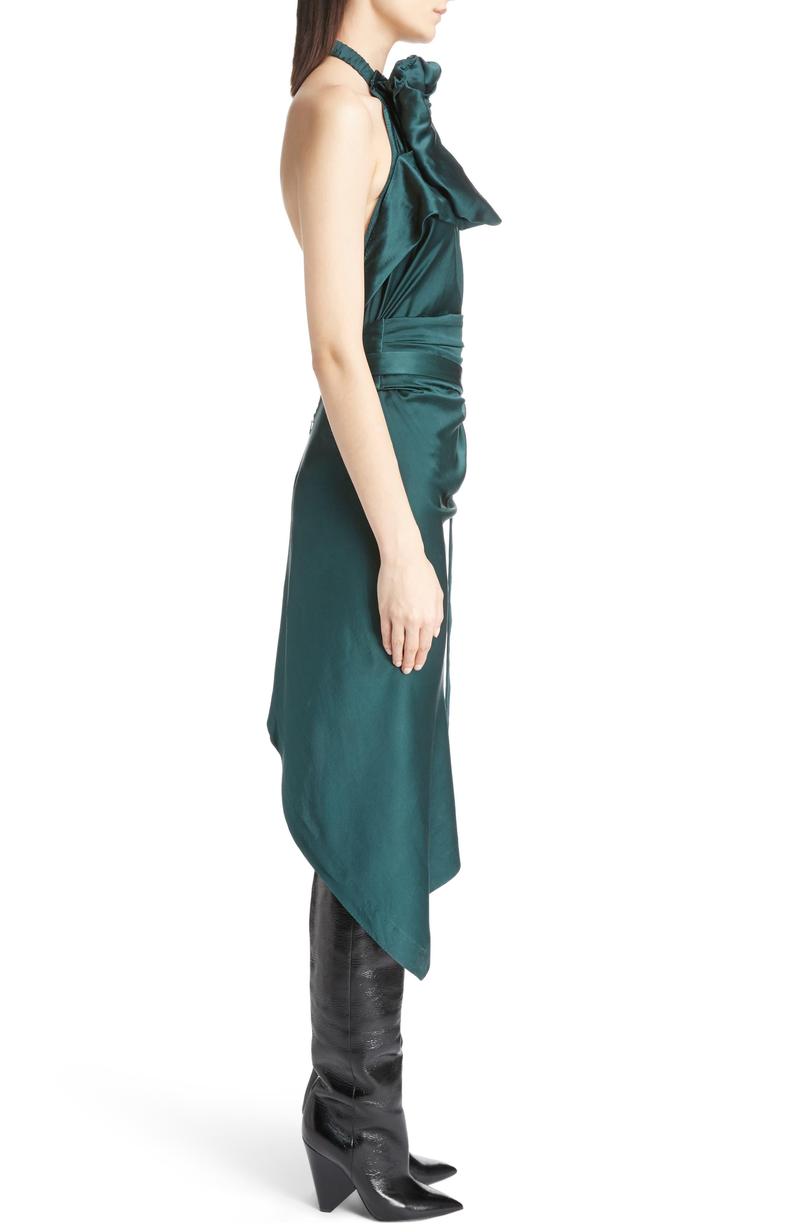 Satin Halter Dress,                             Alternate thumbnail 3, color,                             300