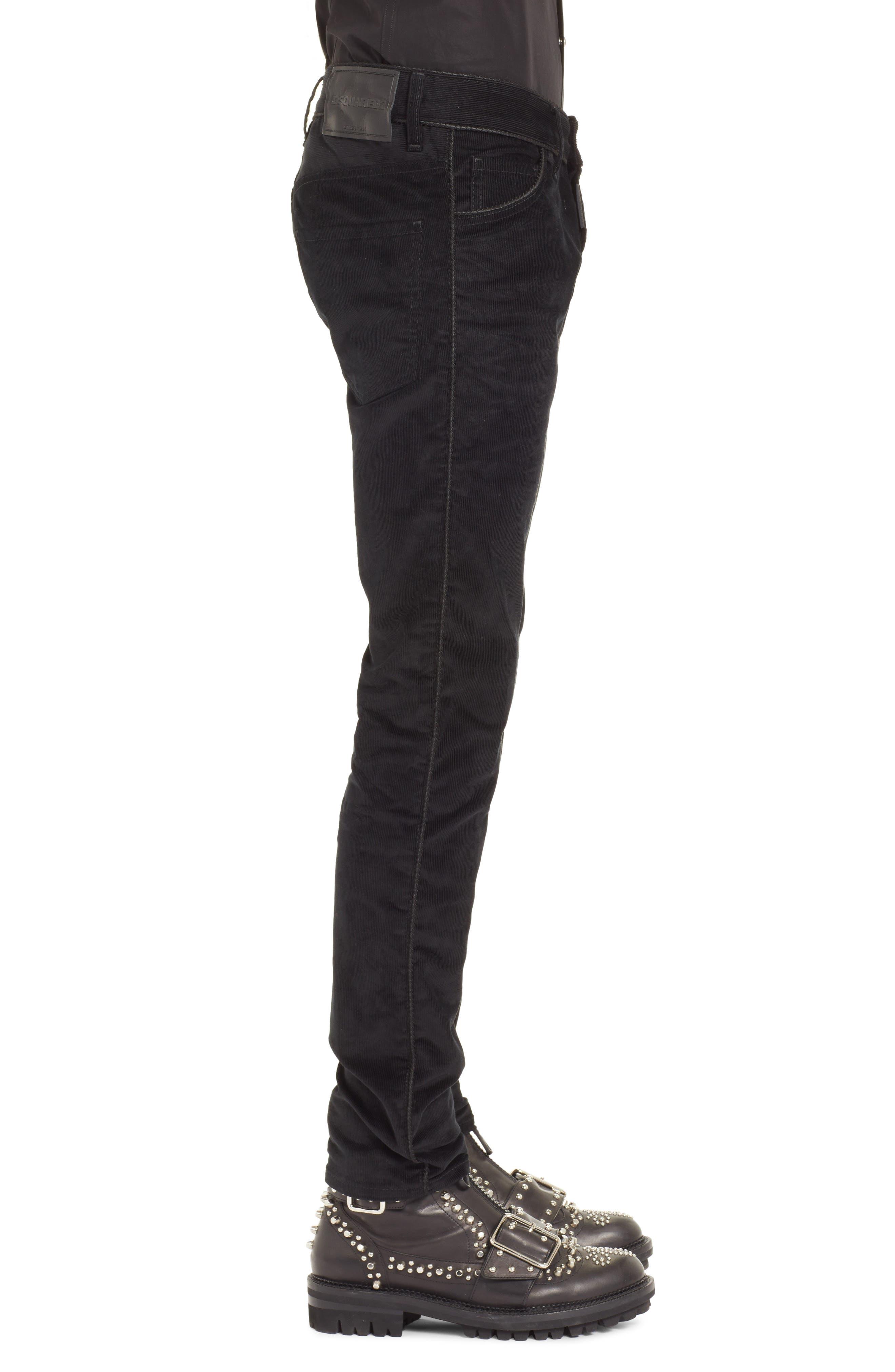 Skinny Straight Leg Corduroy Pants,                             Alternate thumbnail 3, color,                             BLACK