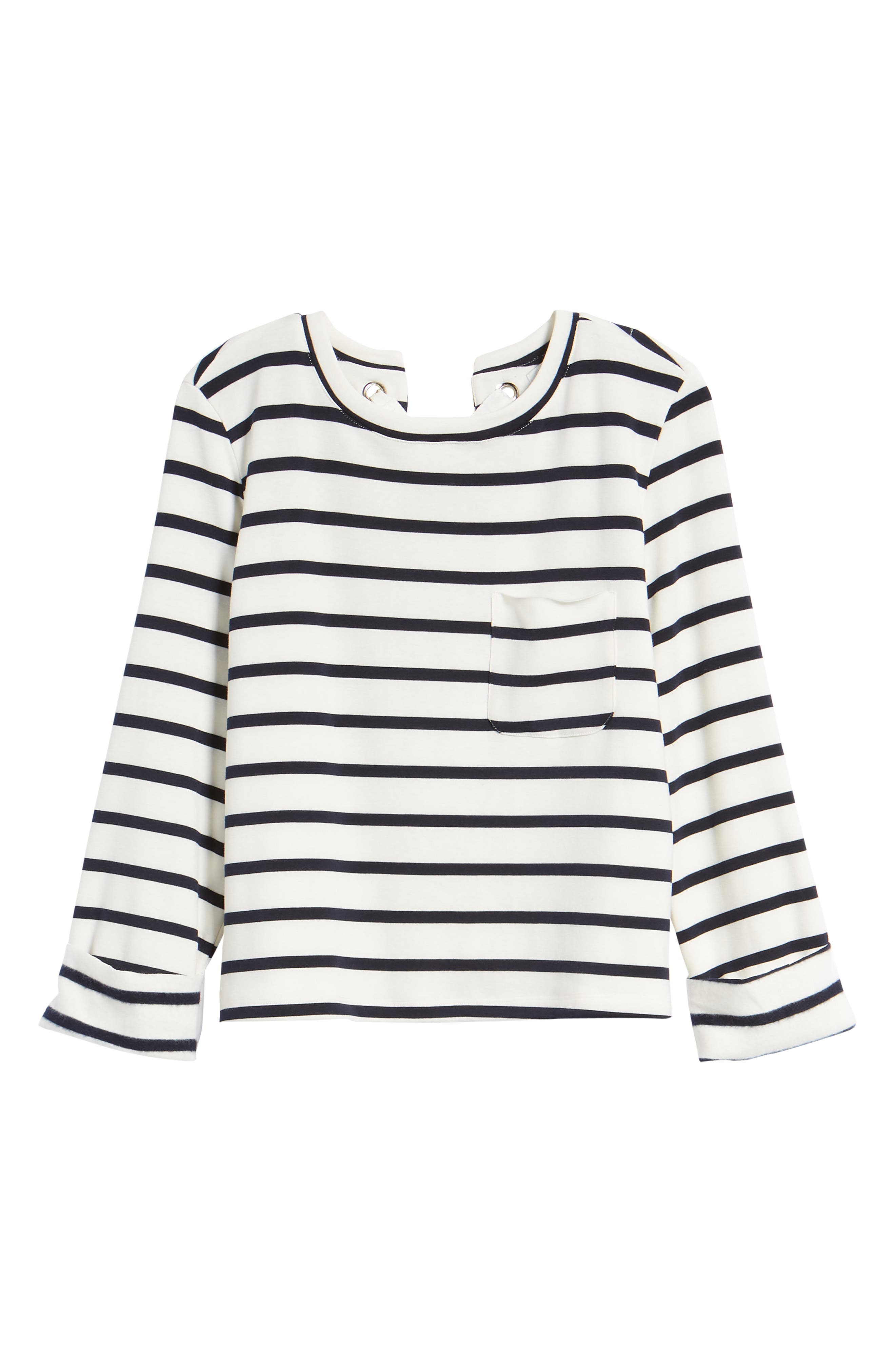 Bishop + Young Stripe Lace-Up Back Top,                             Alternate thumbnail 7, color,                             011