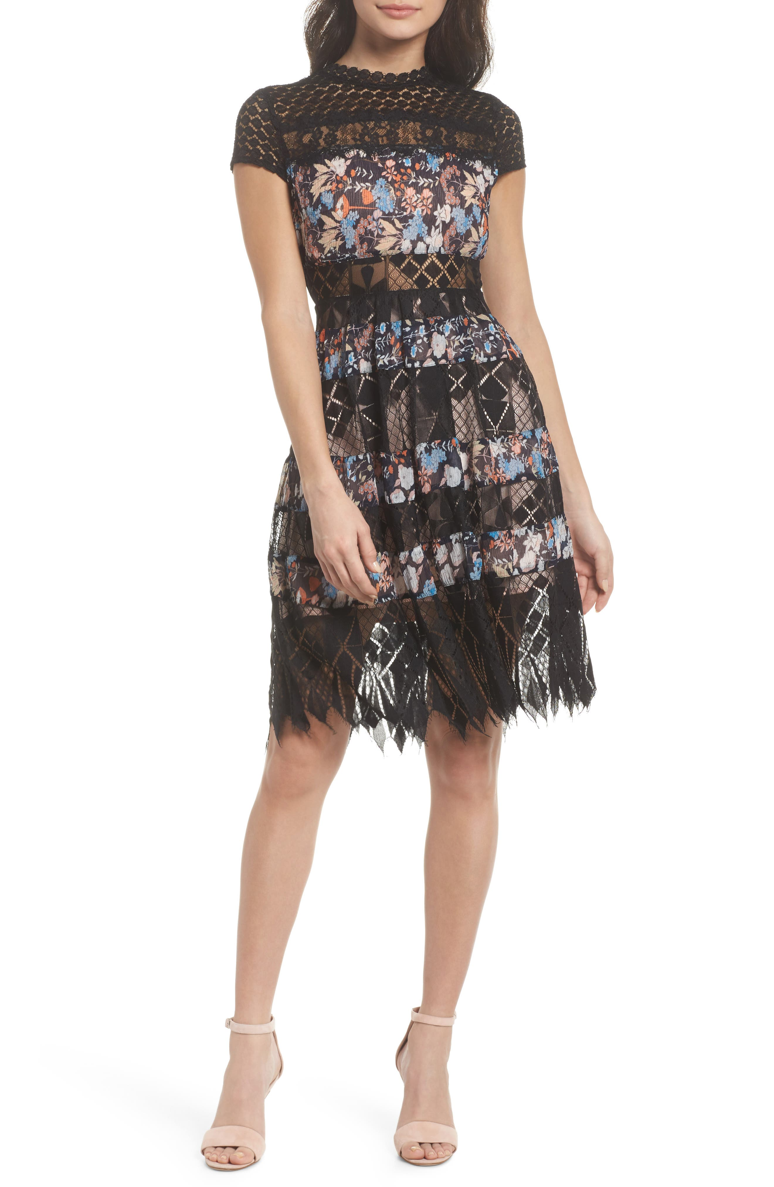 Adriana Lace Panel Dress,                             Main thumbnail 1, color,                             400