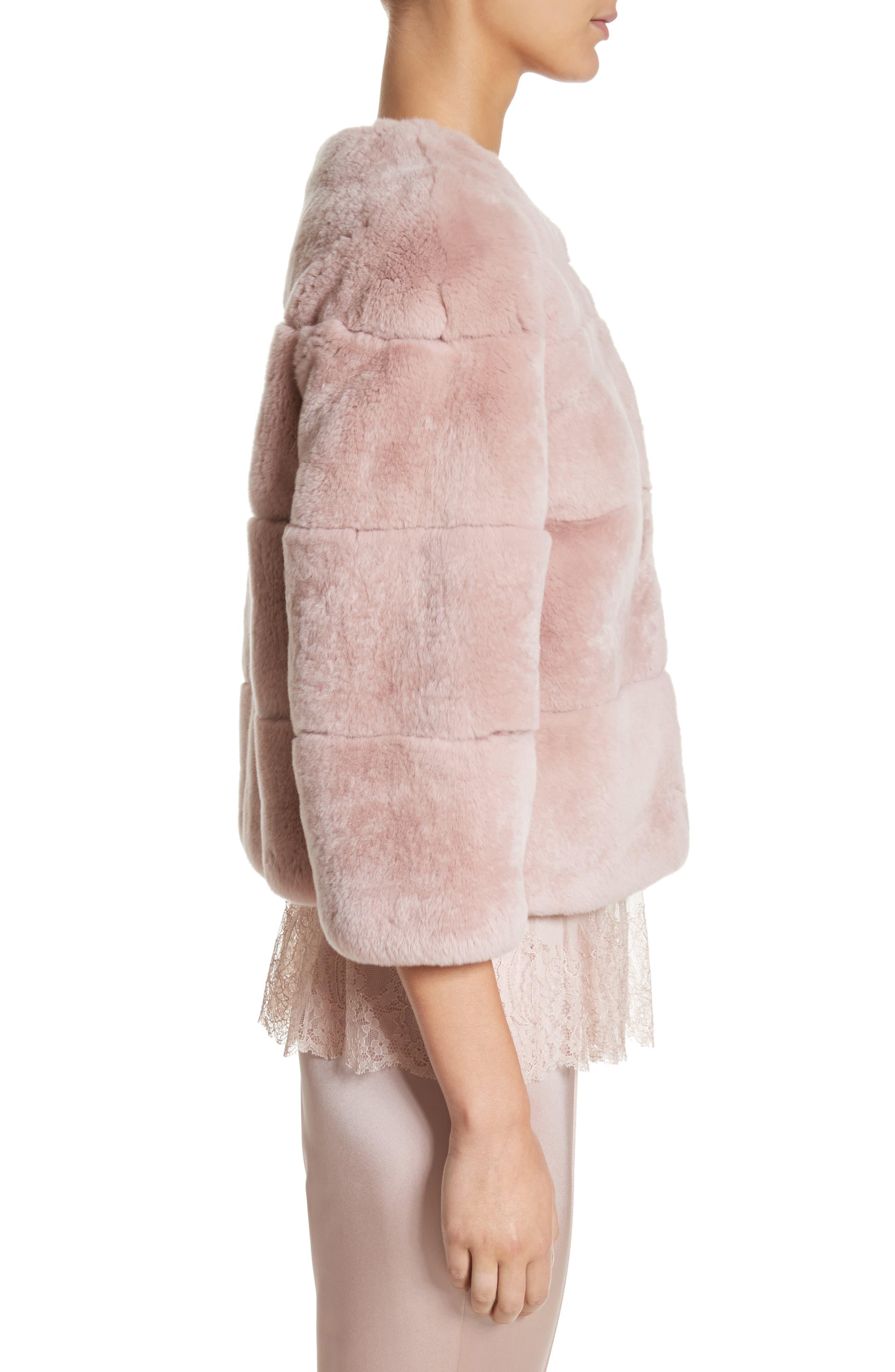 Genuine Rex Rabbit Fur Jacket,                             Alternate thumbnail 3, color,                             680