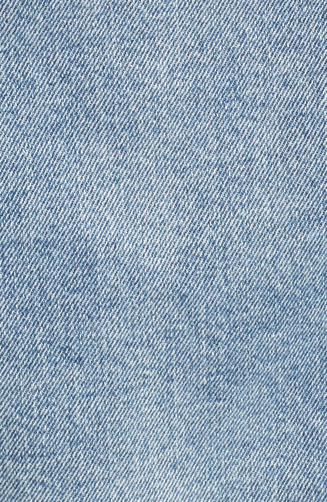 Denim Jacket with Genuine Rabbit Fur Trim,                             Alternate thumbnail 6, color,                             424