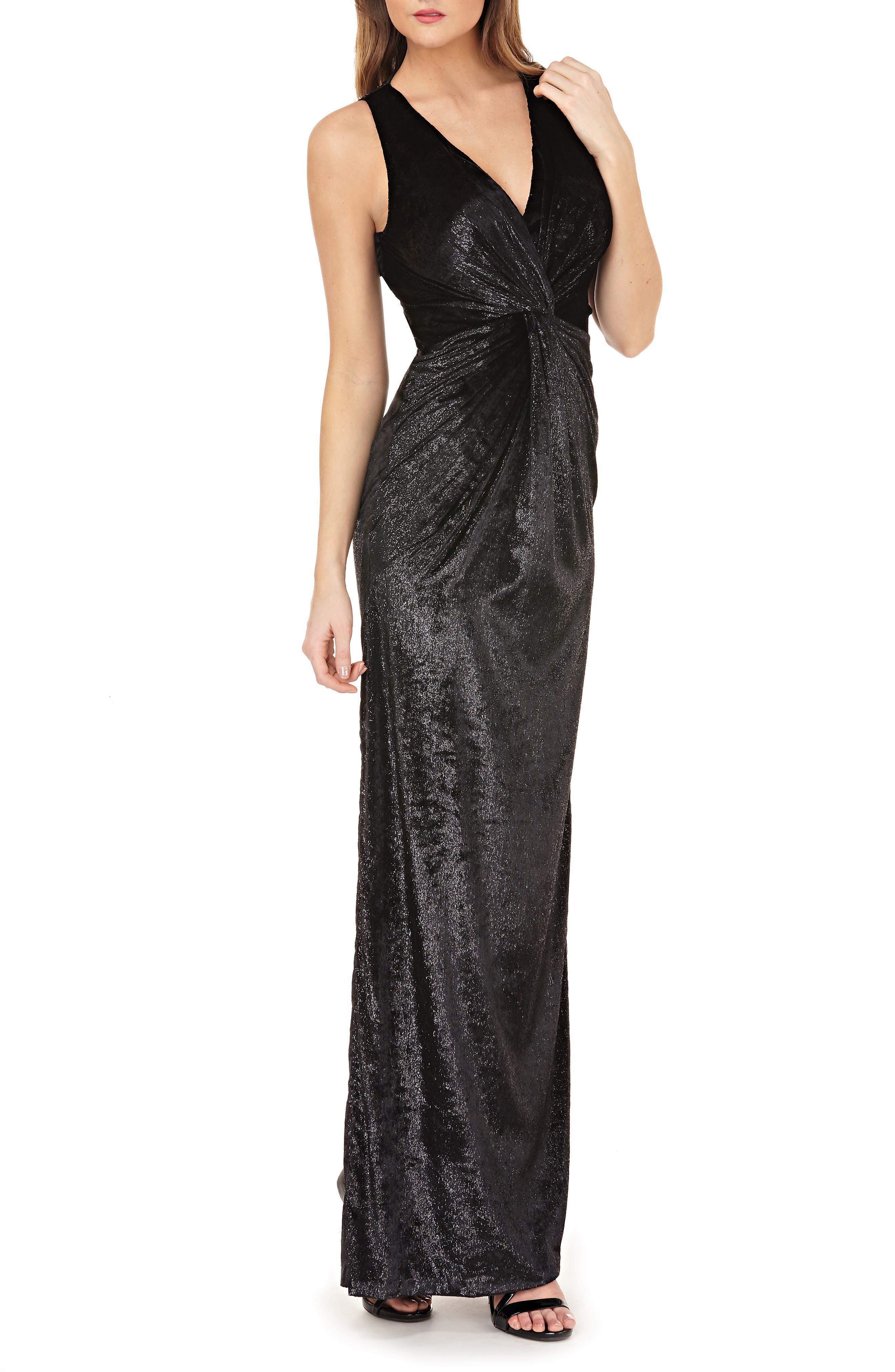 JS COLLECTIONS Sleeveless V-Neck Shiny Velvet Column Gown W/ Twist Detail in Black