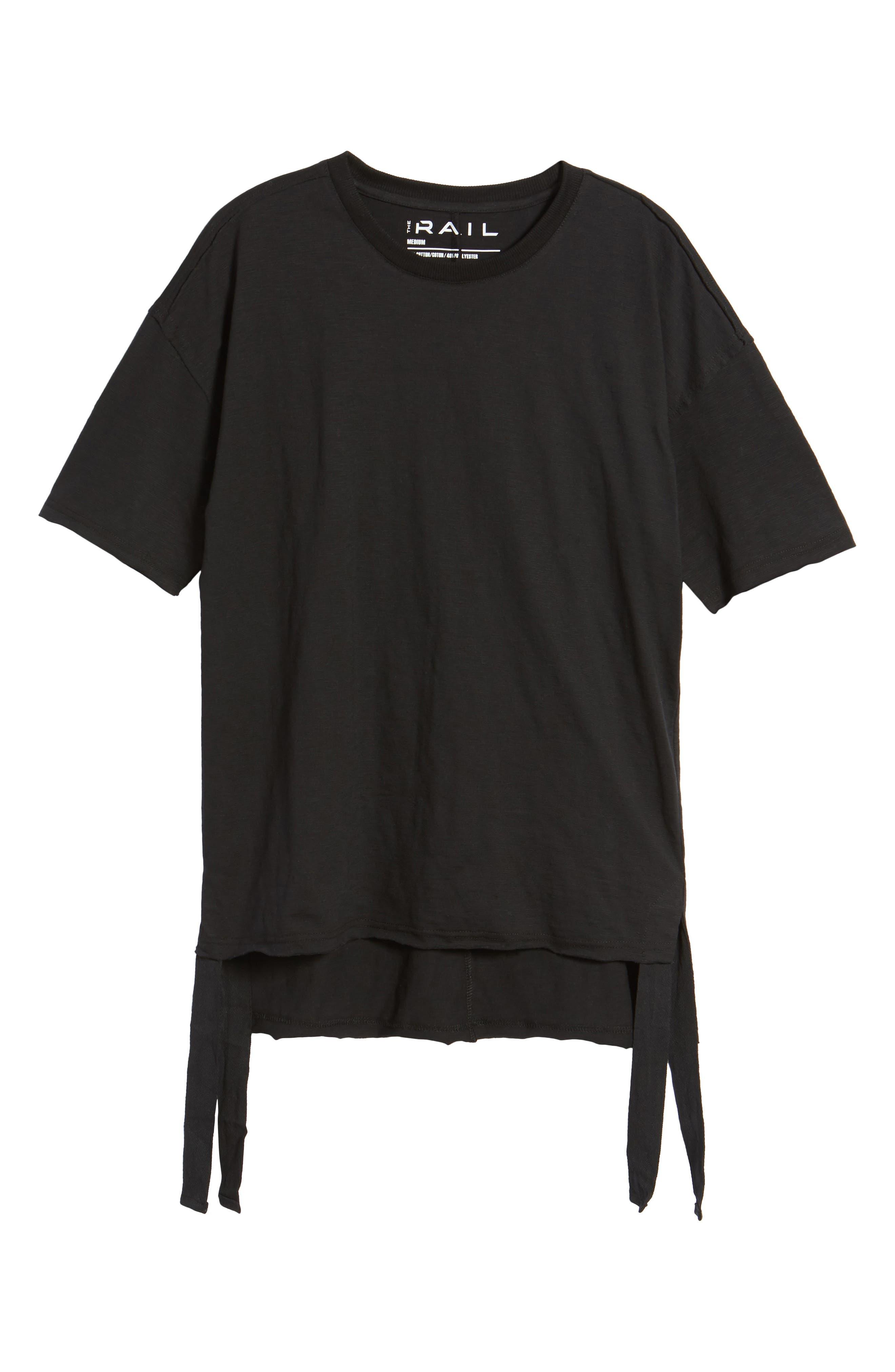 Raw Edge Strapped T-Shirt,                             Alternate thumbnail 6, color,                             001