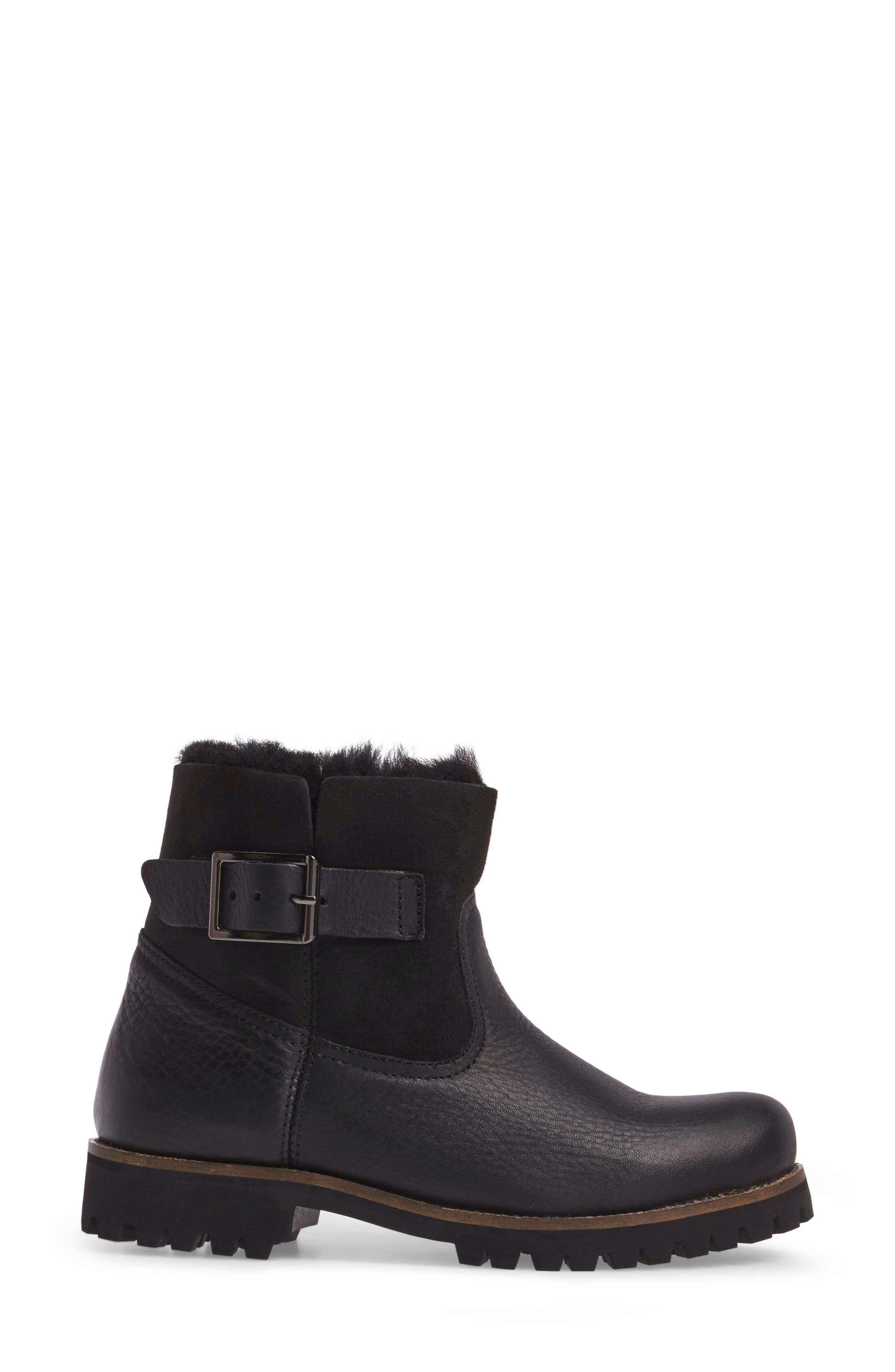 OL06 Genuine Shearling Lined Bootie,                             Alternate thumbnail 3, color,                             BLACK LEATHER