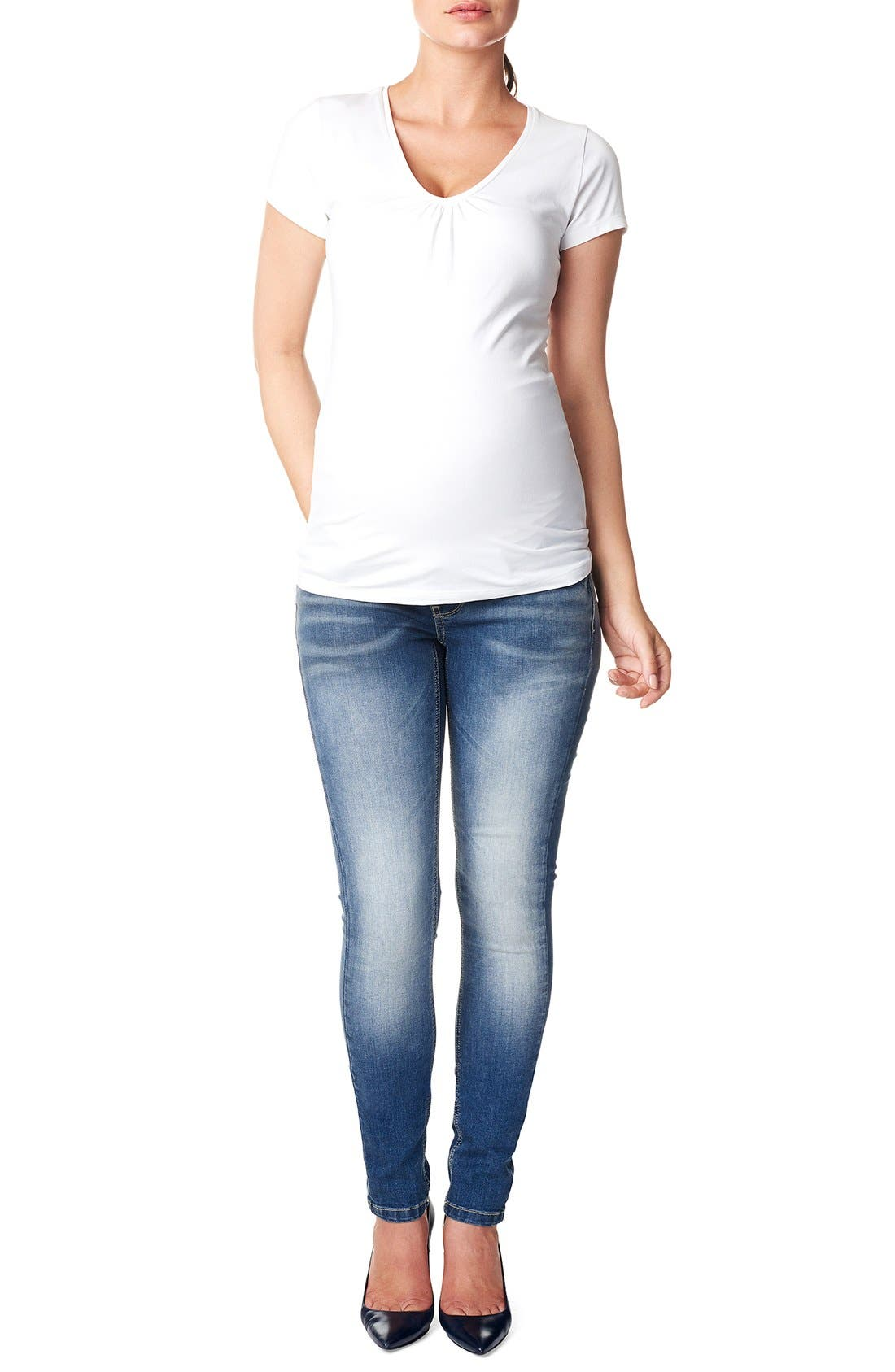 NOPPIES,                             'Tara' Over the Belly Skinny Maternity Jeans,                             Main thumbnail 1, color,                             STONE WASH
