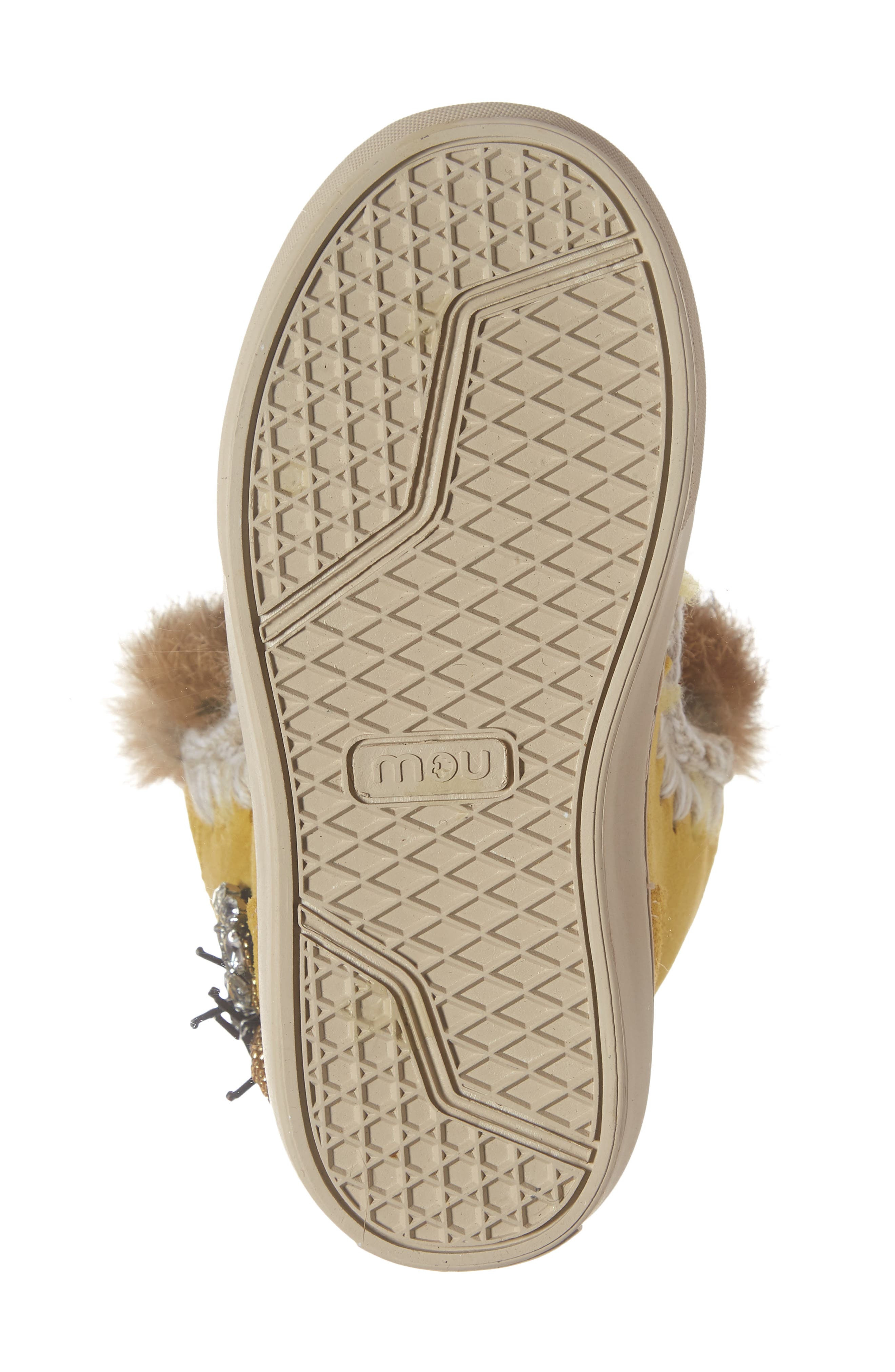 Embellished Genuine Shearling Sneaker Boot,                             Alternate thumbnail 6, color,                             OLIVE YELLOW