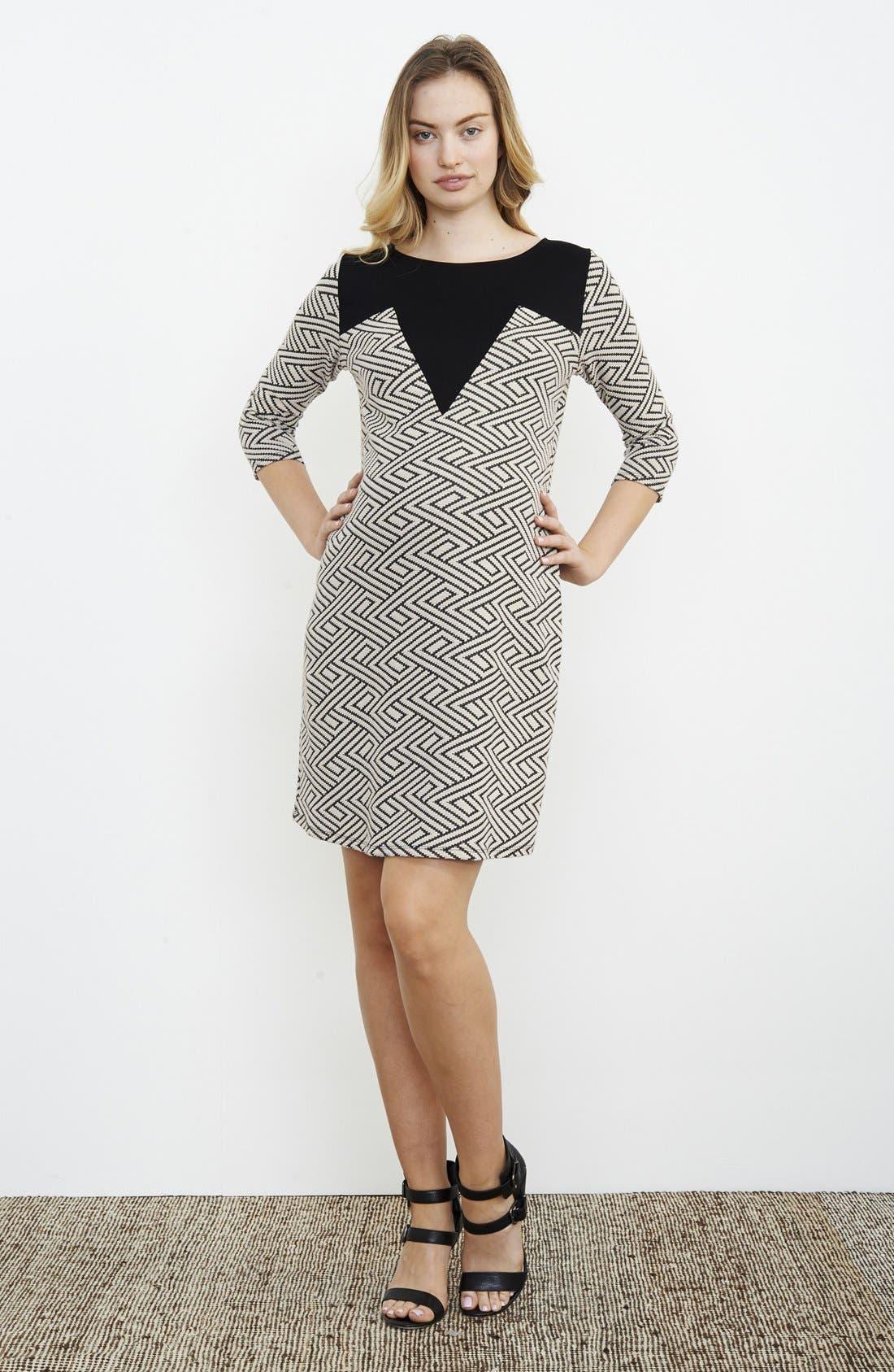 Geo Print Maternity Dress,                         Main,                         color, CREAM TAPESTRY