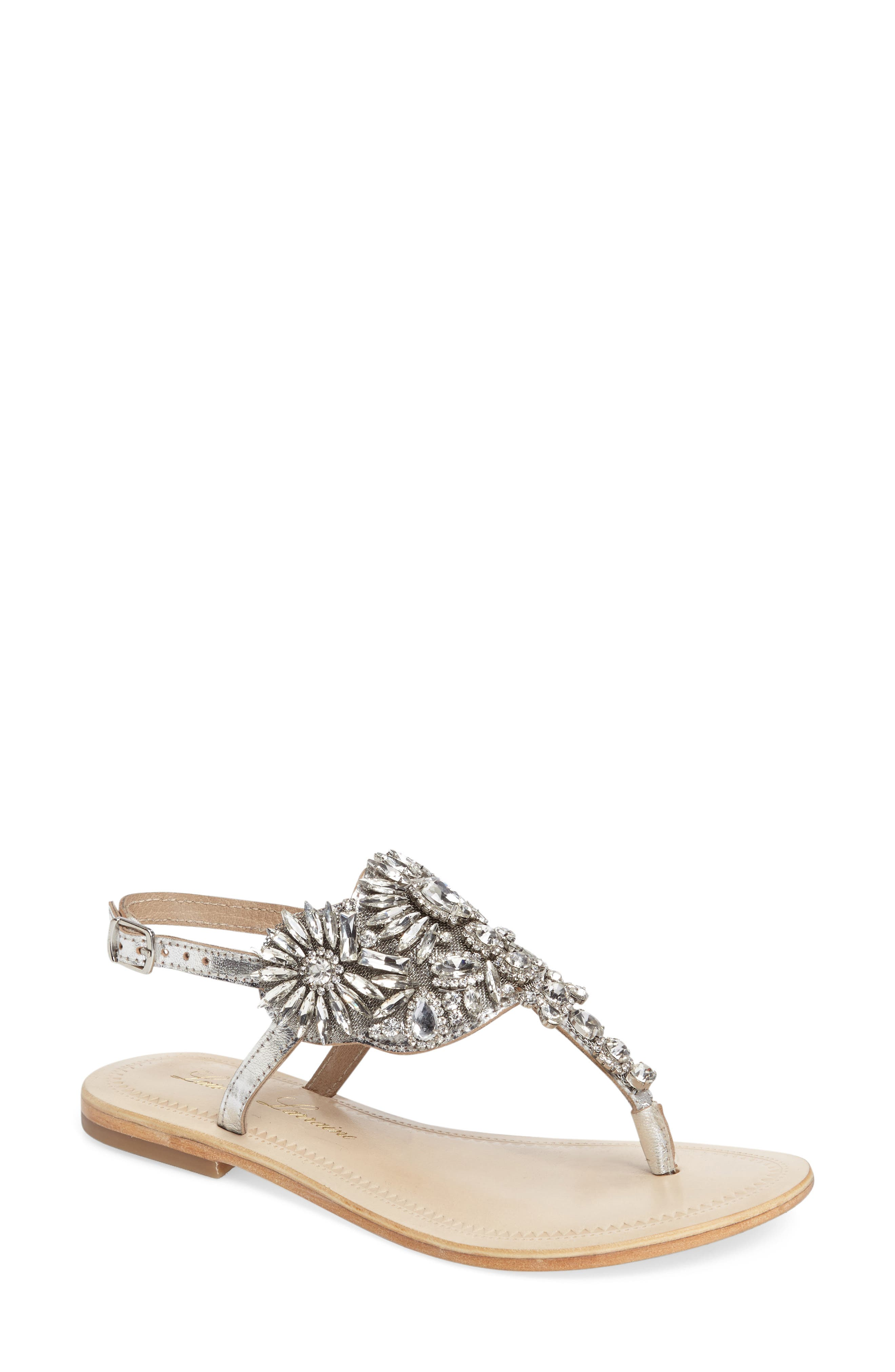 Vera Embellished Sandal,                         Main,                         color, SILVER LEATHER
