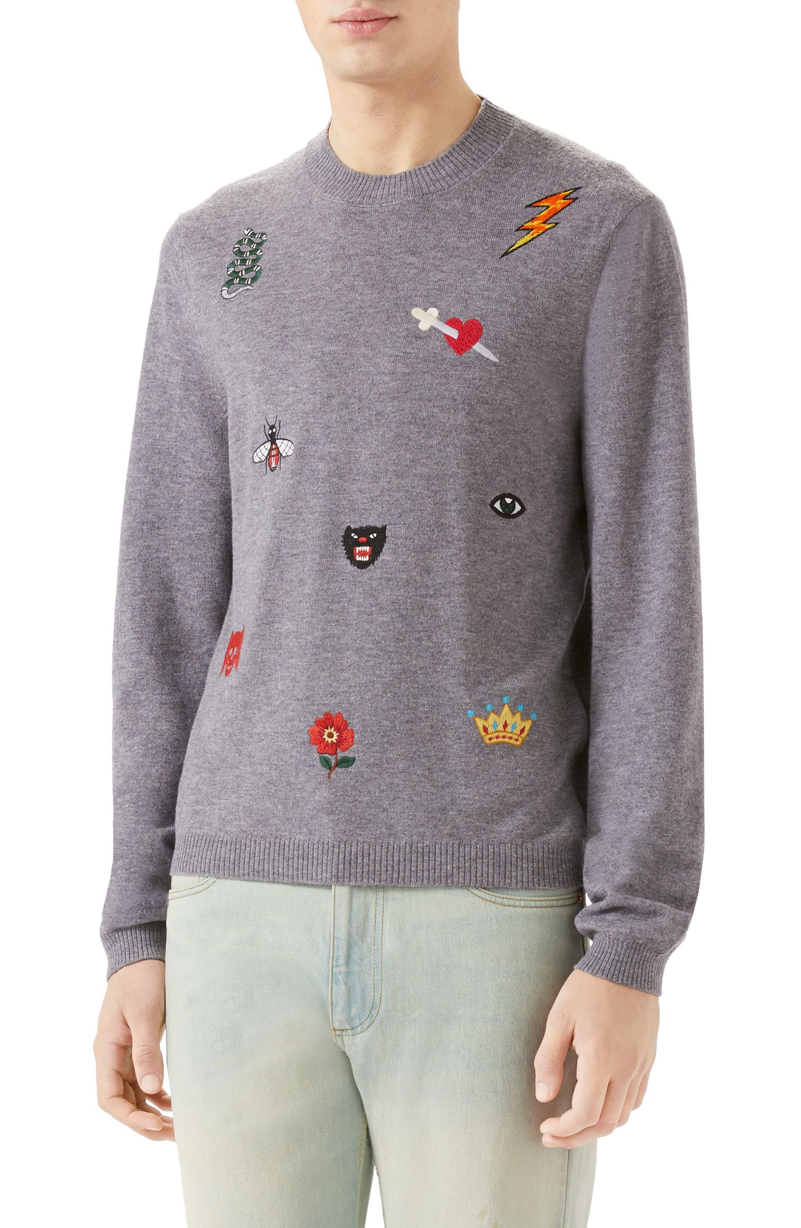 Embroidered Wool Crewneck Sweater,                             Main thumbnail 1, color,                             MEDIUM GREY