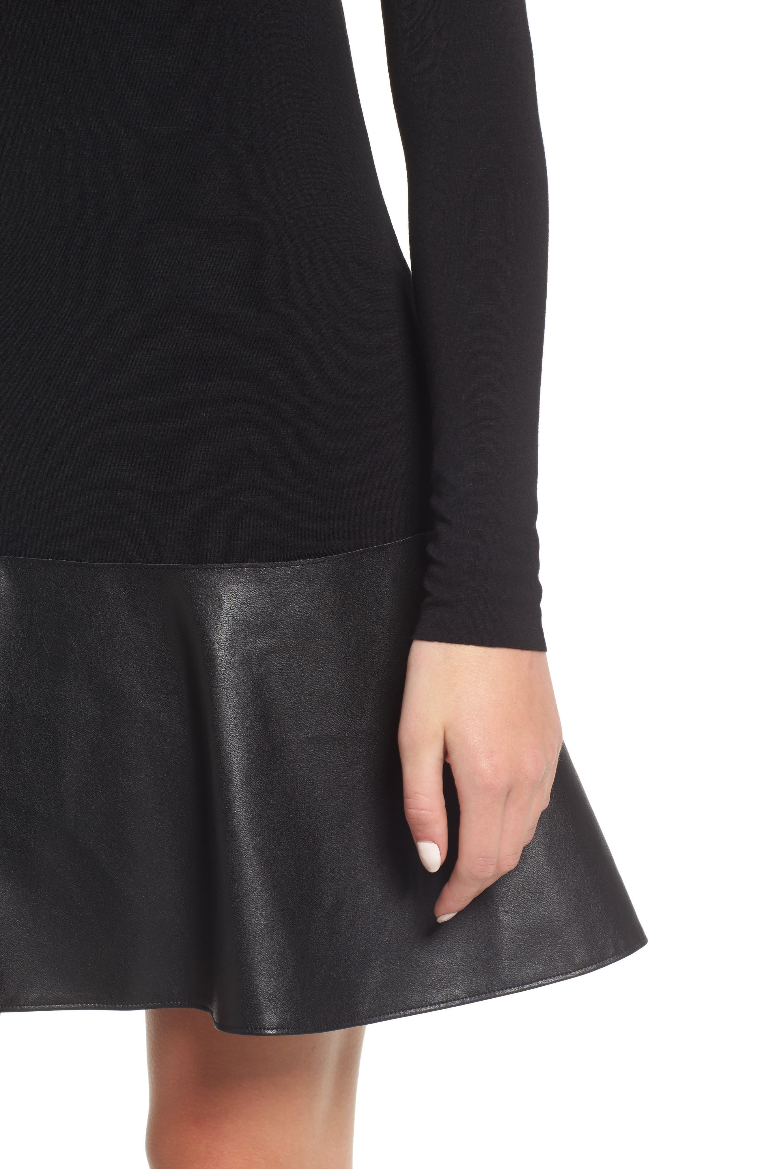 Georgina Faux Leather & Jersey Dress,                             Alternate thumbnail 4, color,                             001
