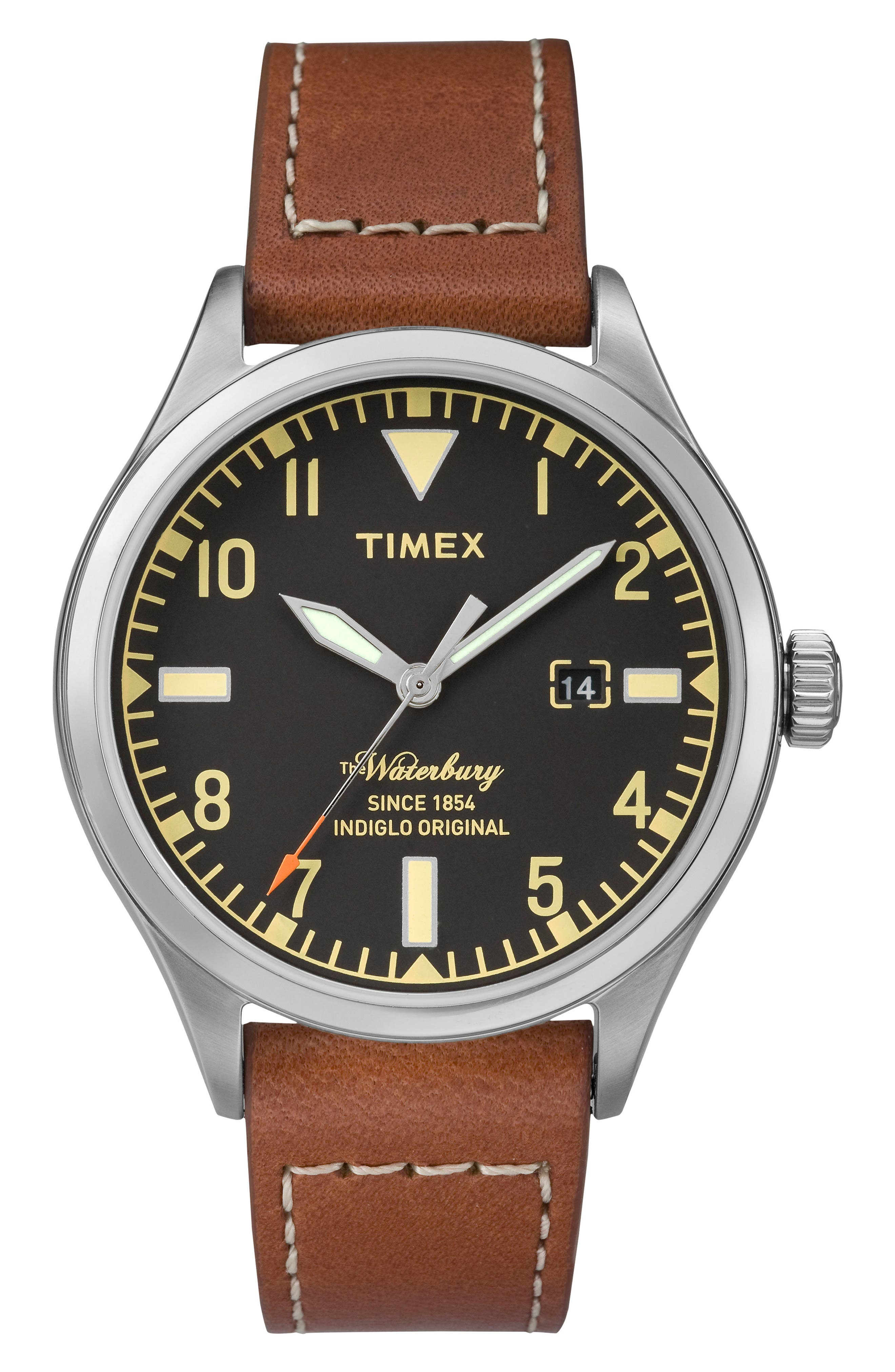 Waterbury Leather Strap Watch, 40mm,                         Main,                         color, RUST/ BLACK/ SILVER