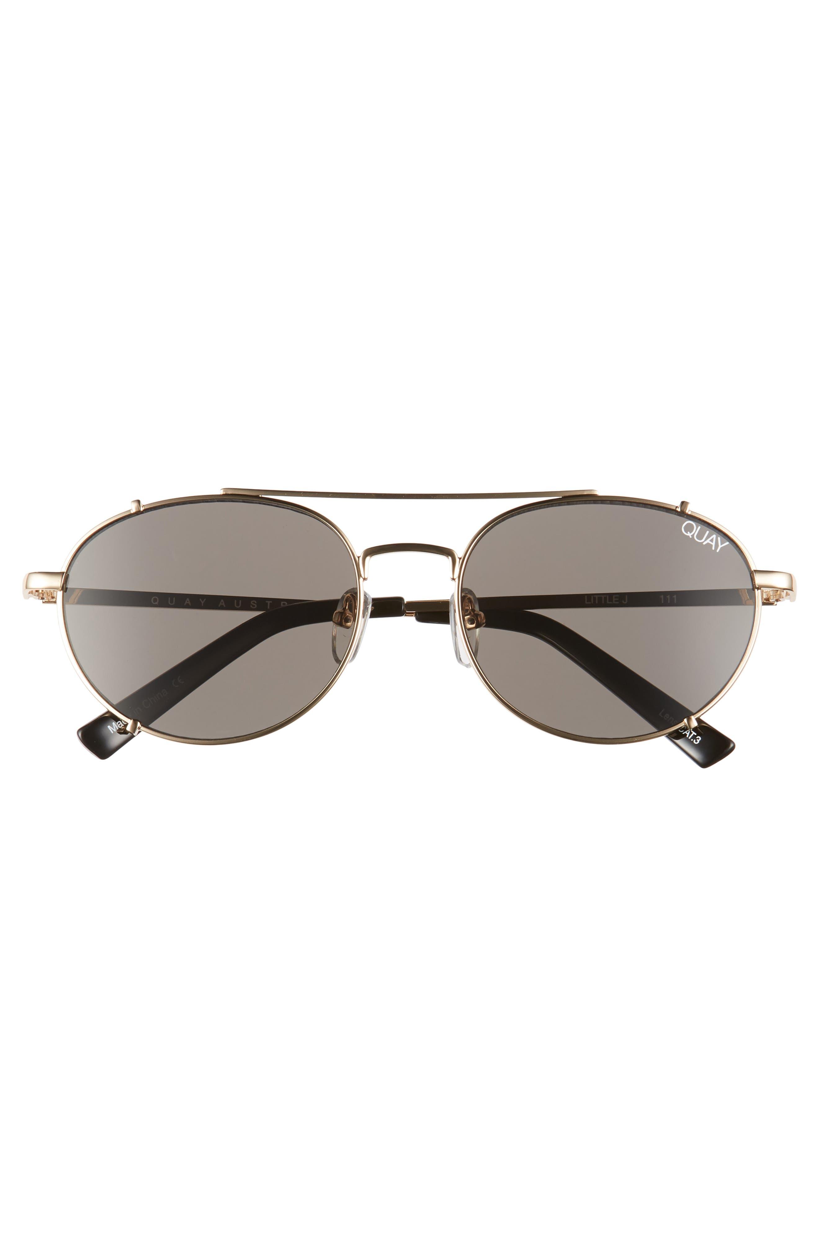 Little J 55mm Aviator Sunglasses,                             Alternate thumbnail 3, color,                             GOLD/ SMOKE