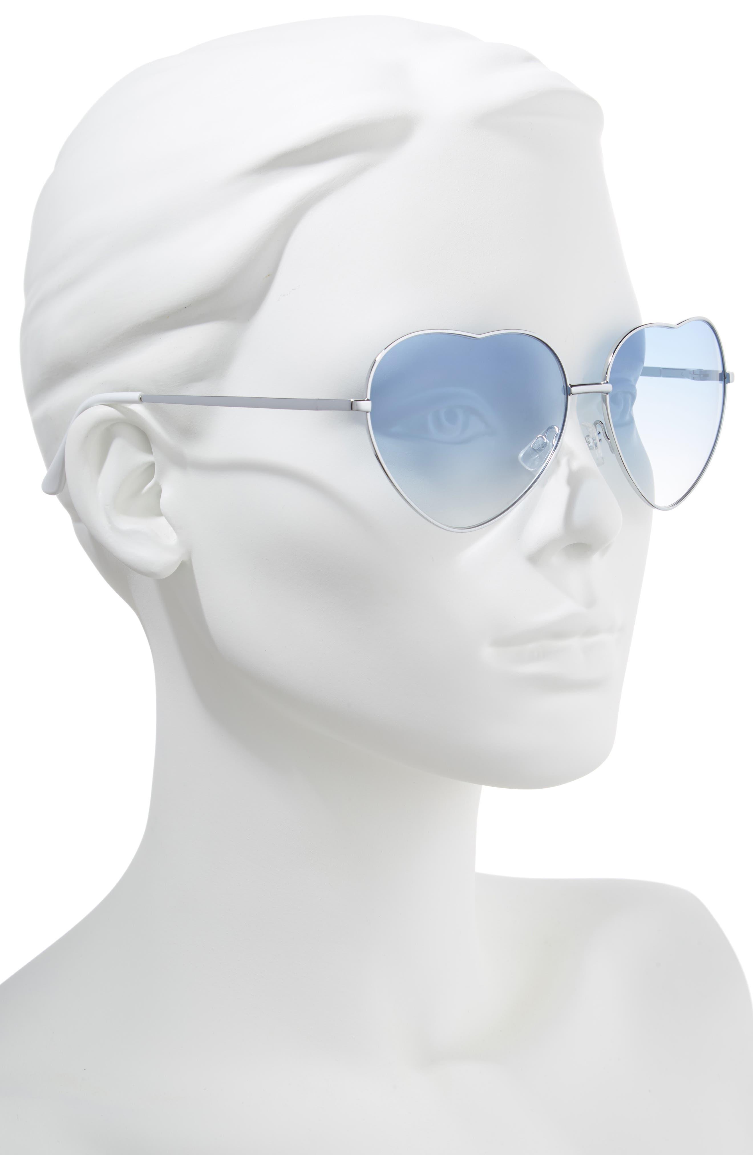60mm Metal Heart Sunglasses,                             Alternate thumbnail 2, color,                             040