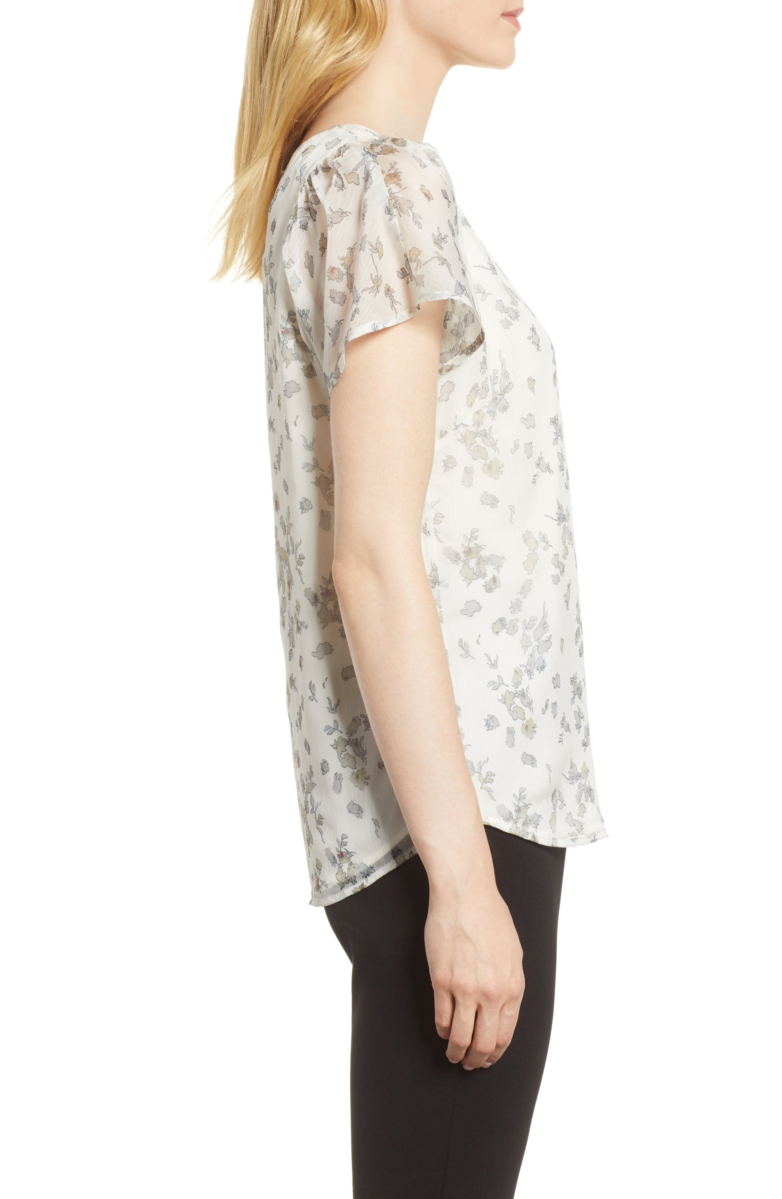Floral Flutter Sleeve Textured Chiffon Blouse,                             Alternate thumbnail 6, color,