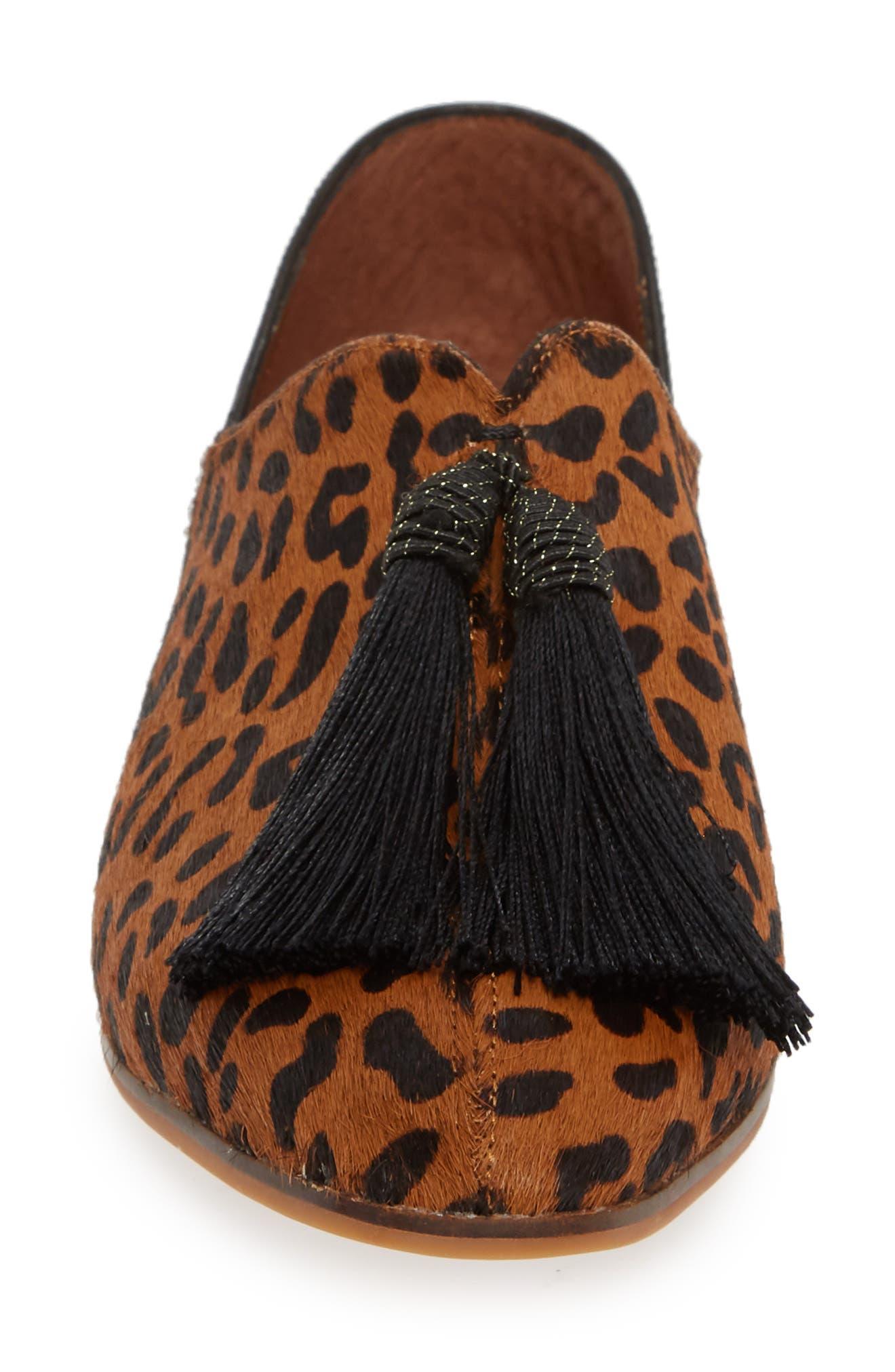 SBICCA,                             Primwood Tassel Loafer,                             Alternate thumbnail 4, color,                             BLACK LEOPARD LEATHER