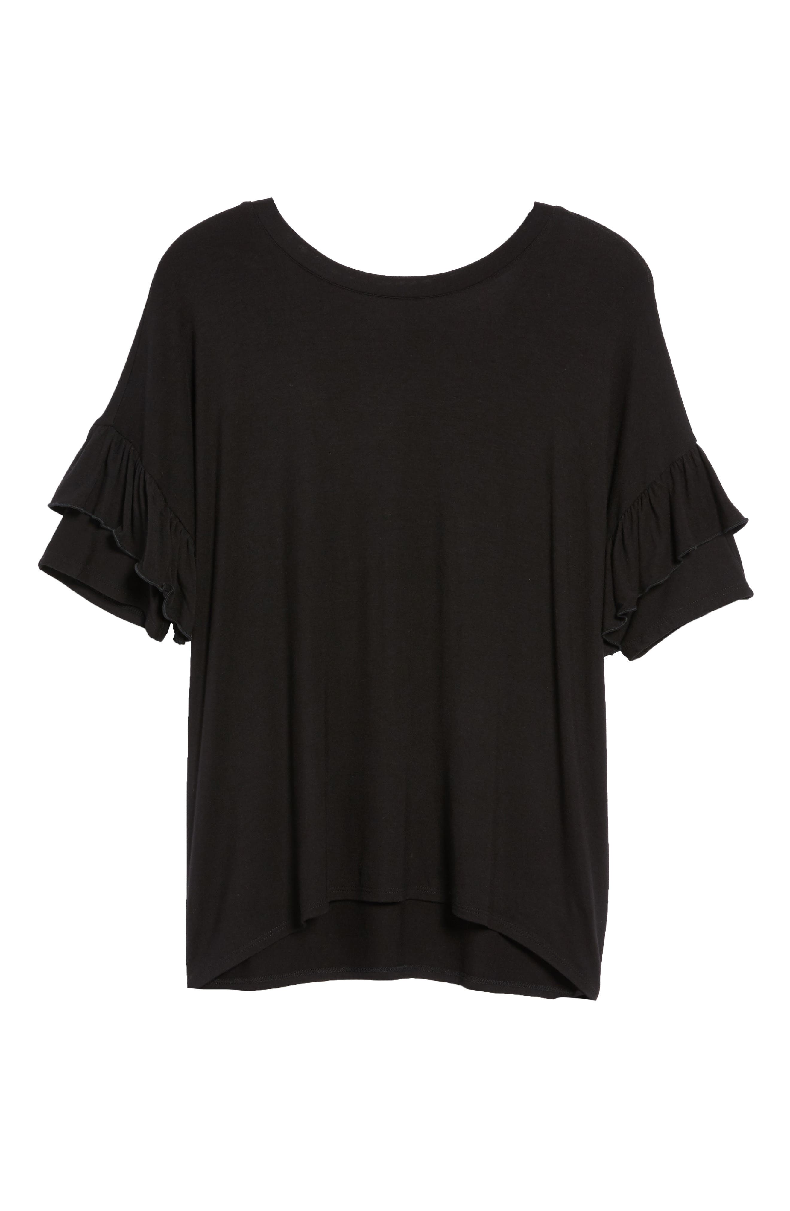 Ruffle Sleeve Tee,                             Alternate thumbnail 6, color,                             001