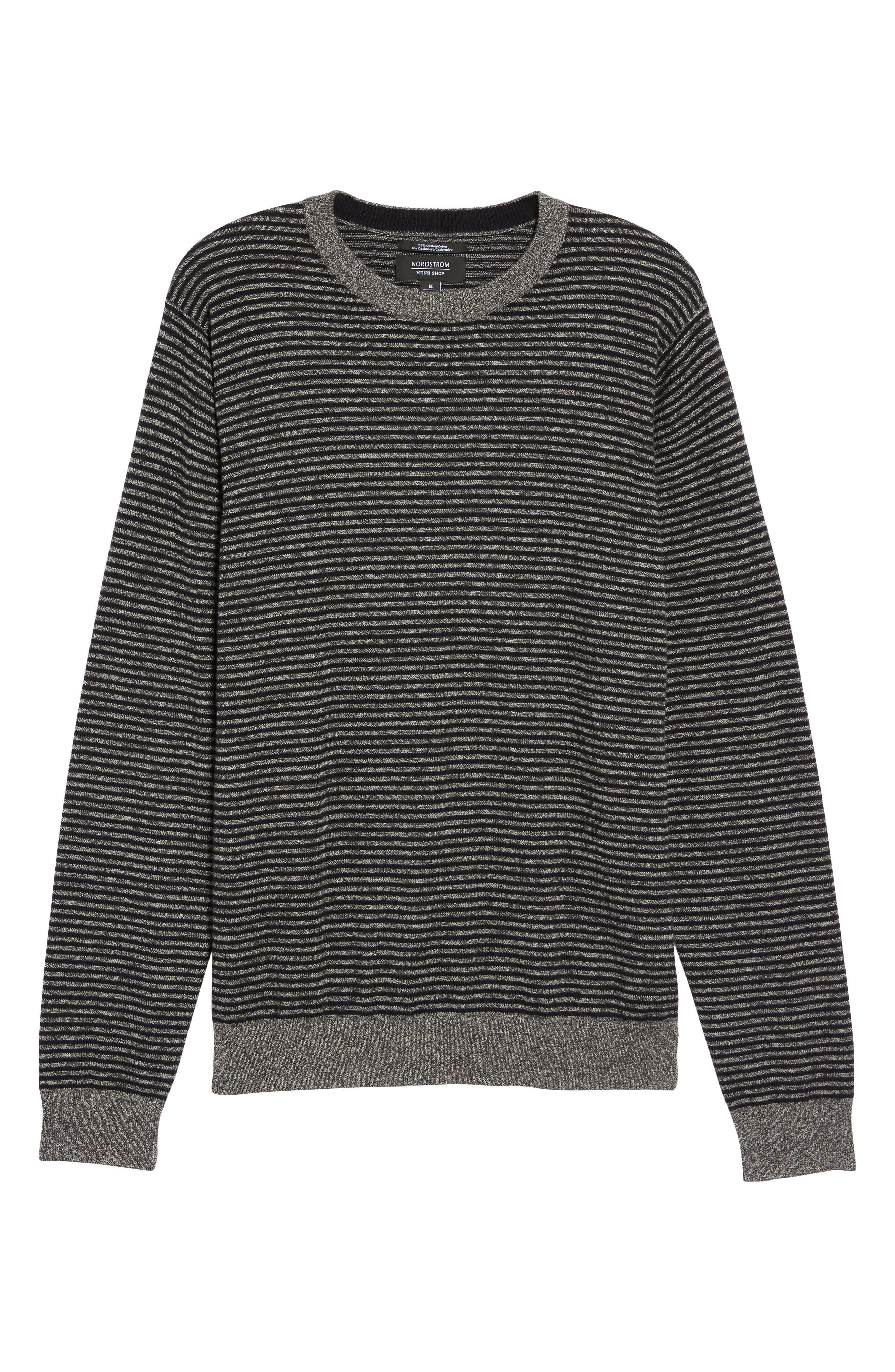 Stripe Cotton & Cashmere Crewneck Sweater,                             Alternate thumbnail 6, color,                             001