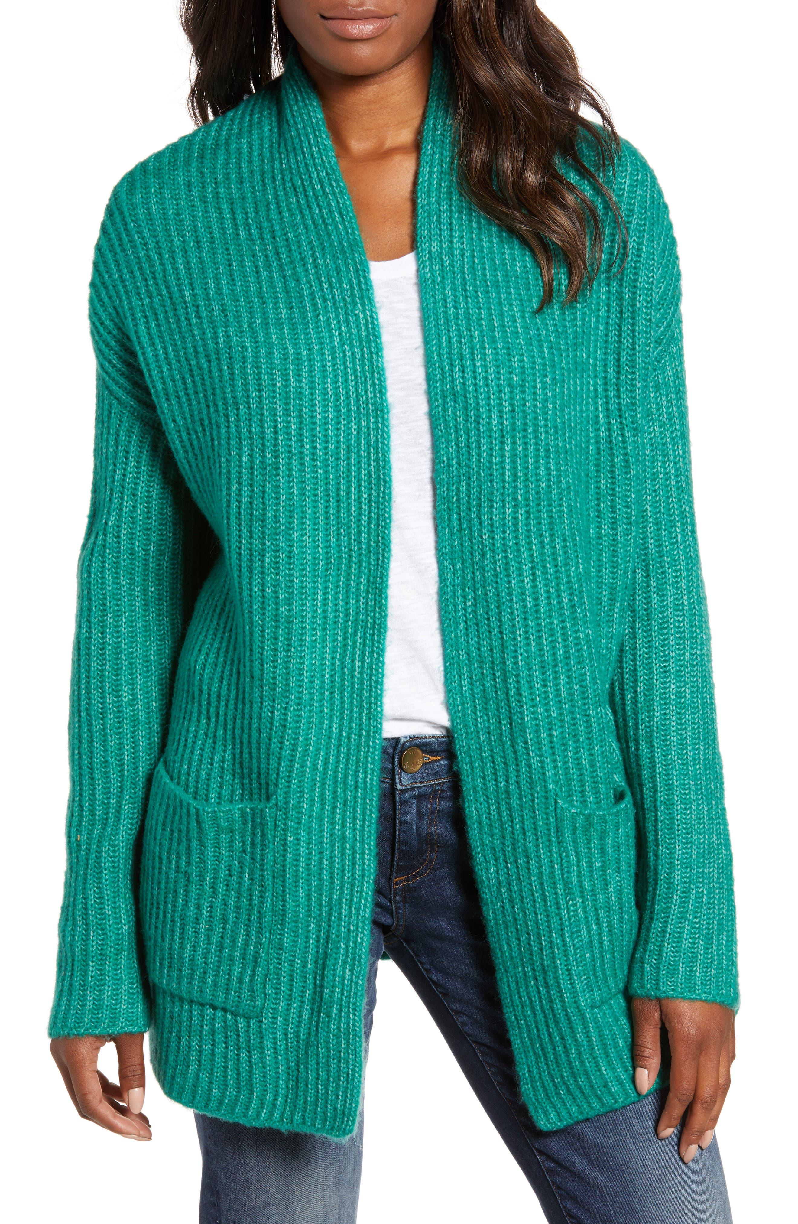 Fluffy Ribbed Long Sleeve Cardigan,                         Main,                         color, 301