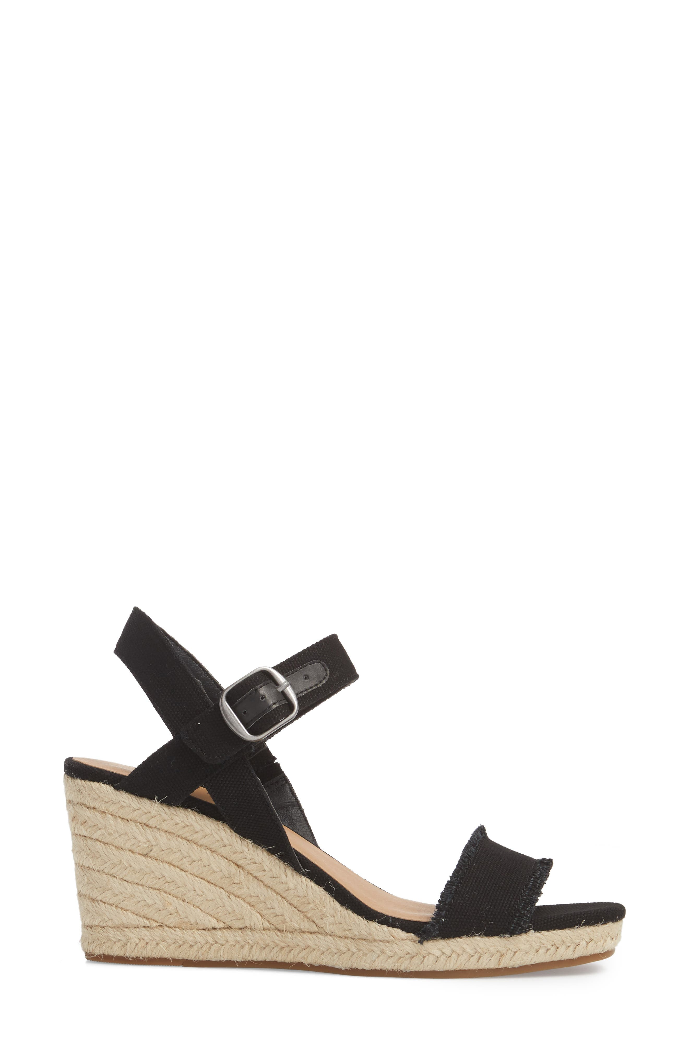 Marceline Squared Toe Wedge Sandal,                             Alternate thumbnail 3, color,                             001