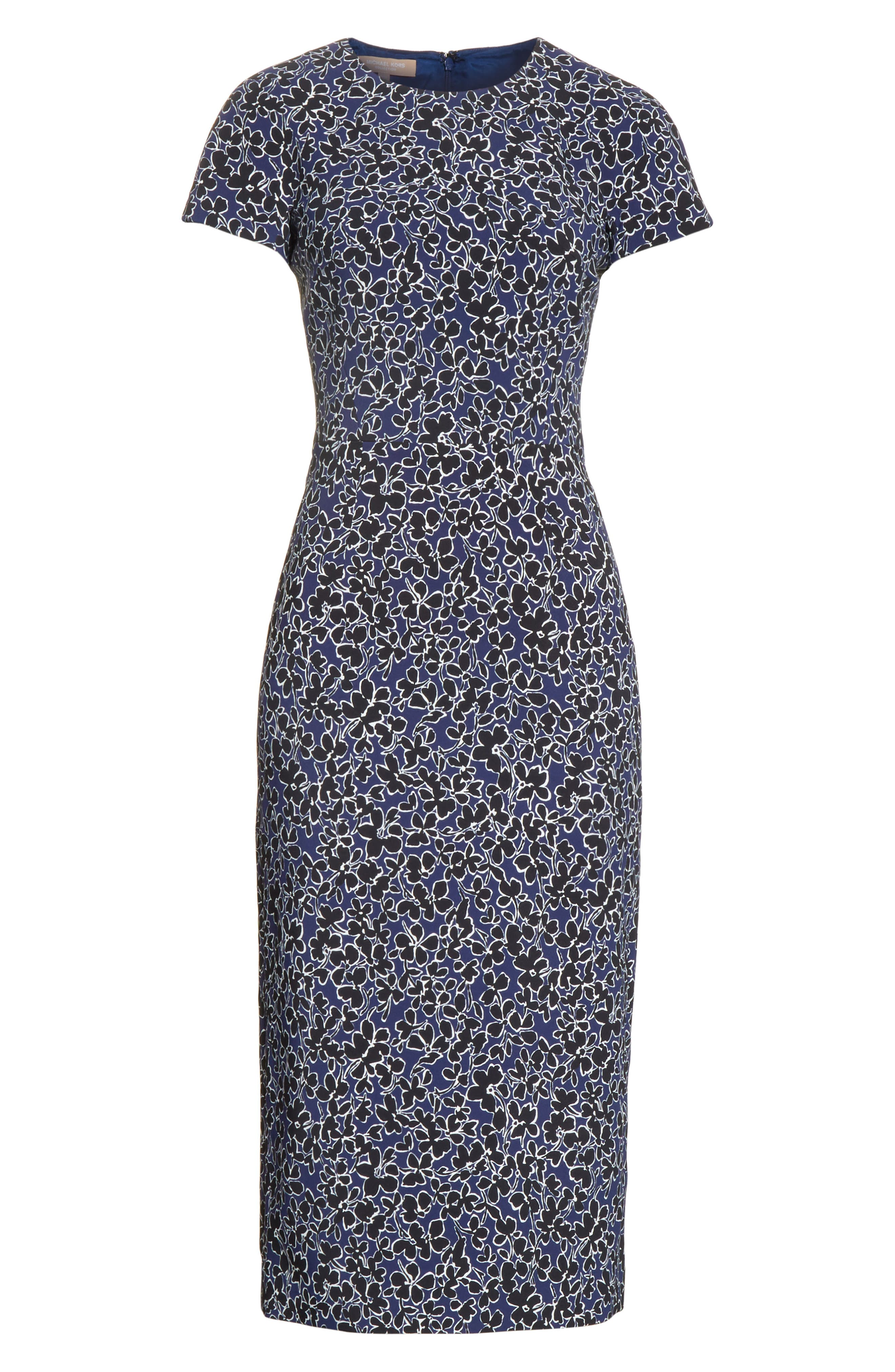 Floral T-Shirt Sheath Dress,                             Alternate thumbnail 6, color,                             489