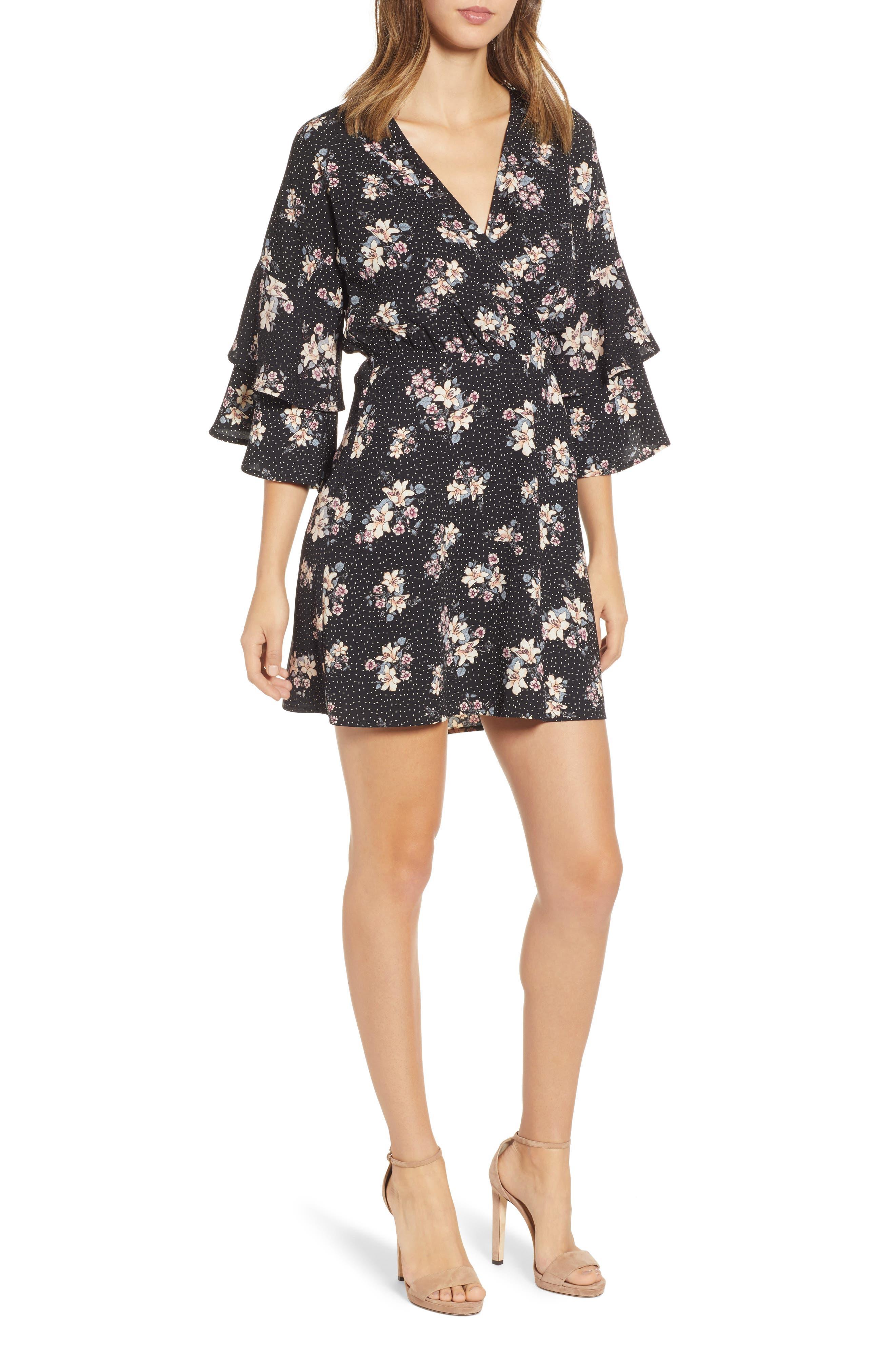 Printed Ruffle Sleeve Minidress,                             Main thumbnail 1, color,                             001