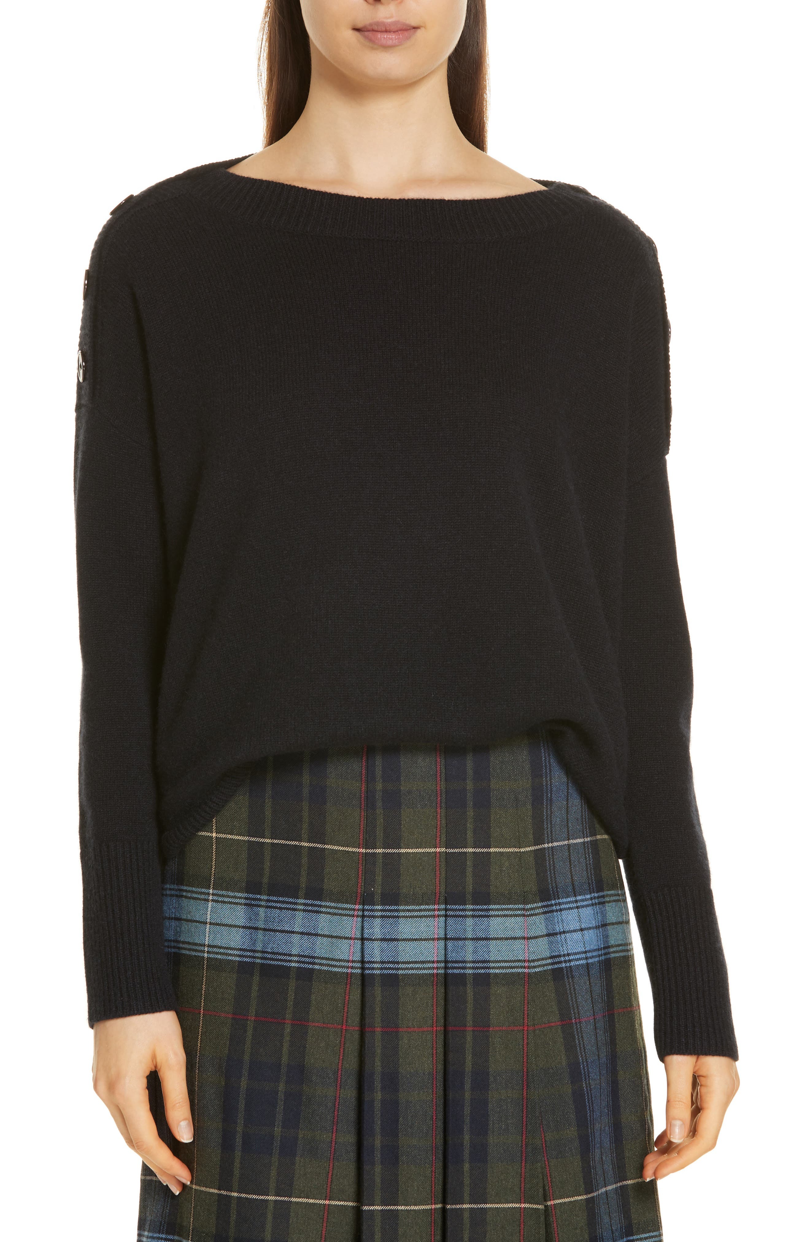 Button Shoulder Cashmere Sweater,                             Main thumbnail 1, color,                             BLACK