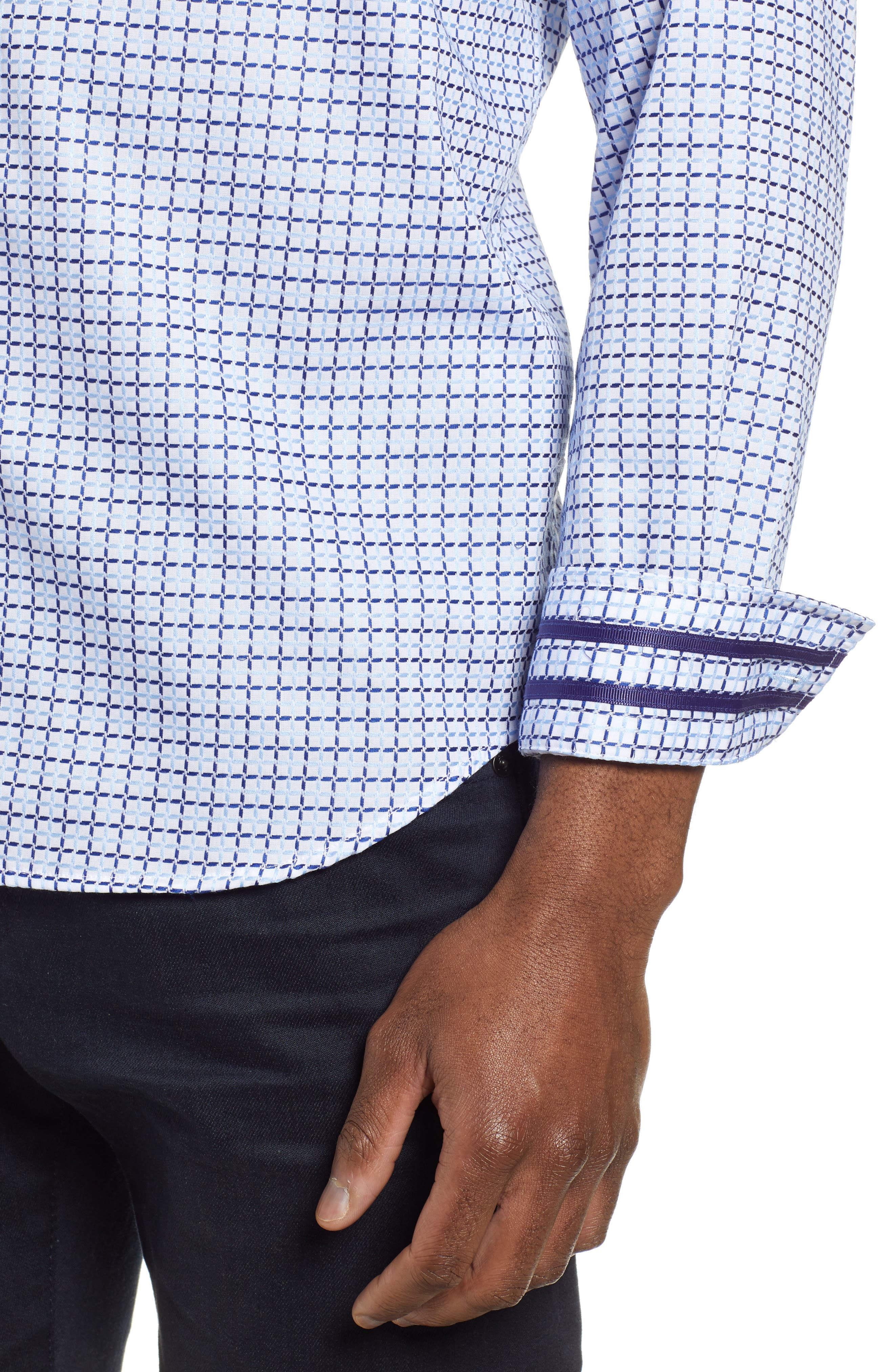 ROBERT GRAHAM,                             Axton Tailored Fit Check Sport Shirt,                             Alternate thumbnail 2, color,                             BLUE