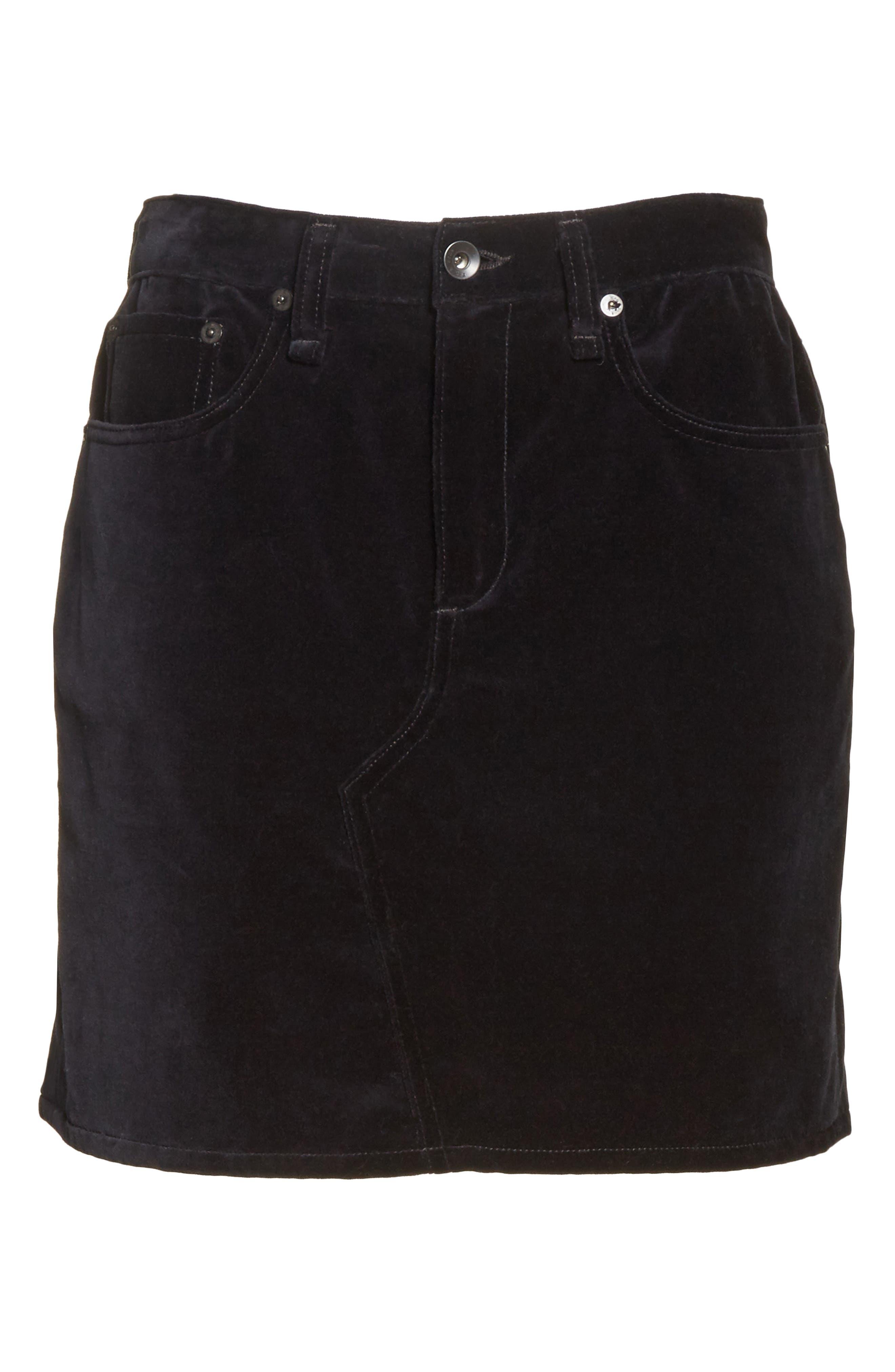 Dive Velvet Miniskirt,                             Alternate thumbnail 6, color,                             001