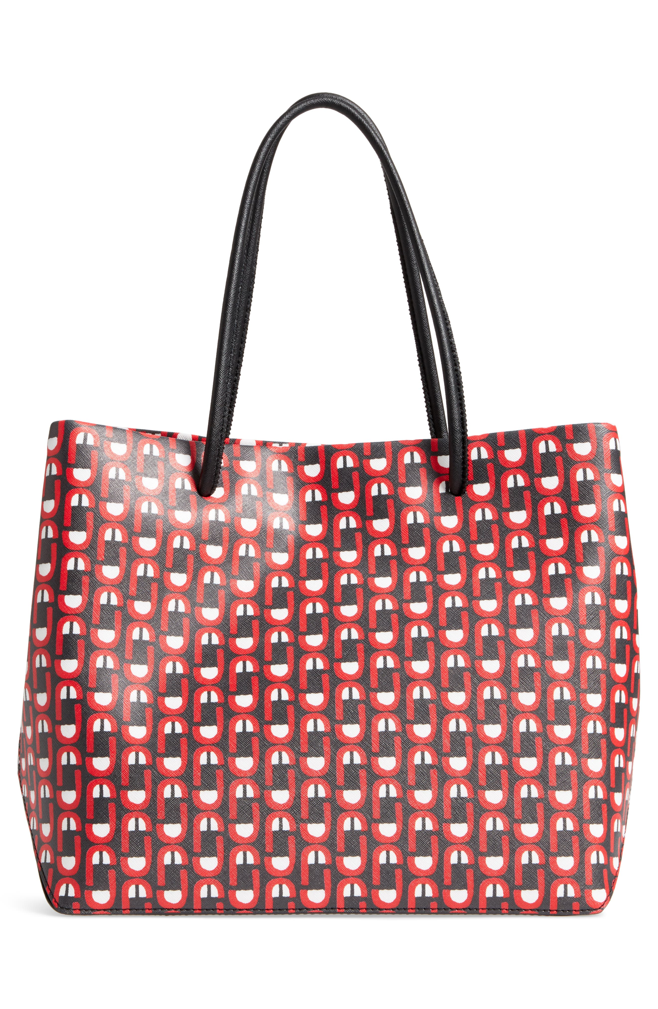 Logo Scream Leather East/West Tote,                             Alternate thumbnail 3, color,                             601