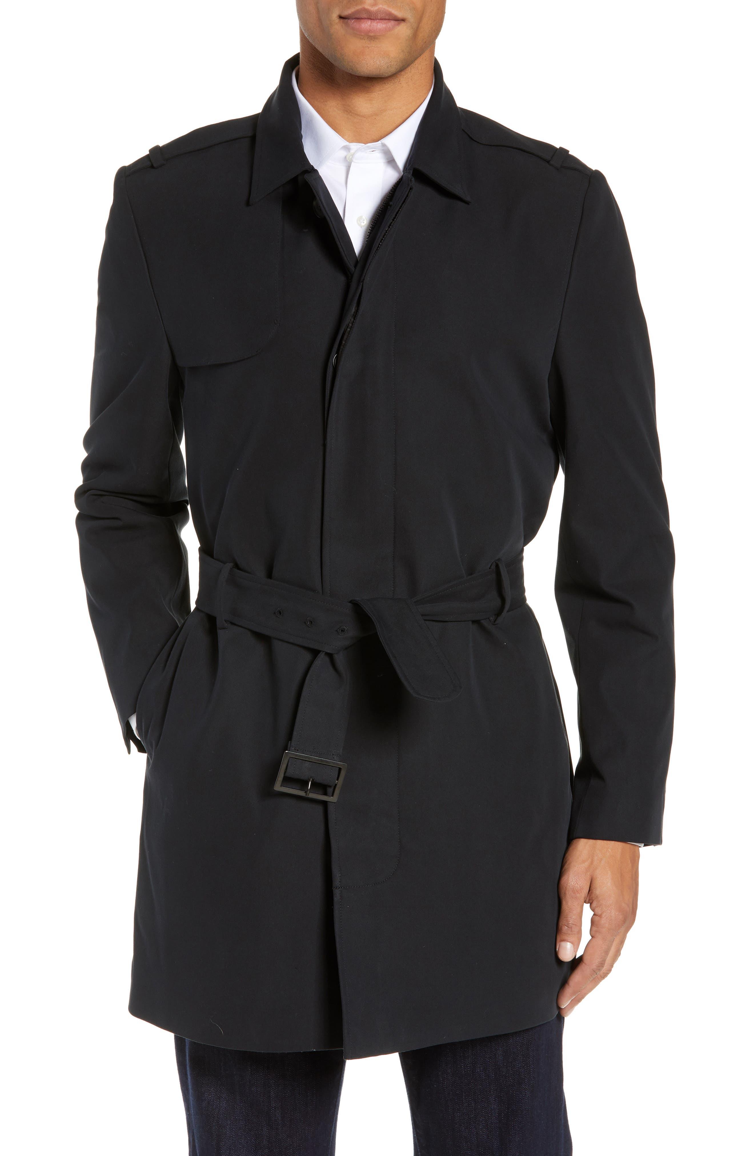 Clean Short Trench Coat,                             Main thumbnail 1, color,                             BLACK