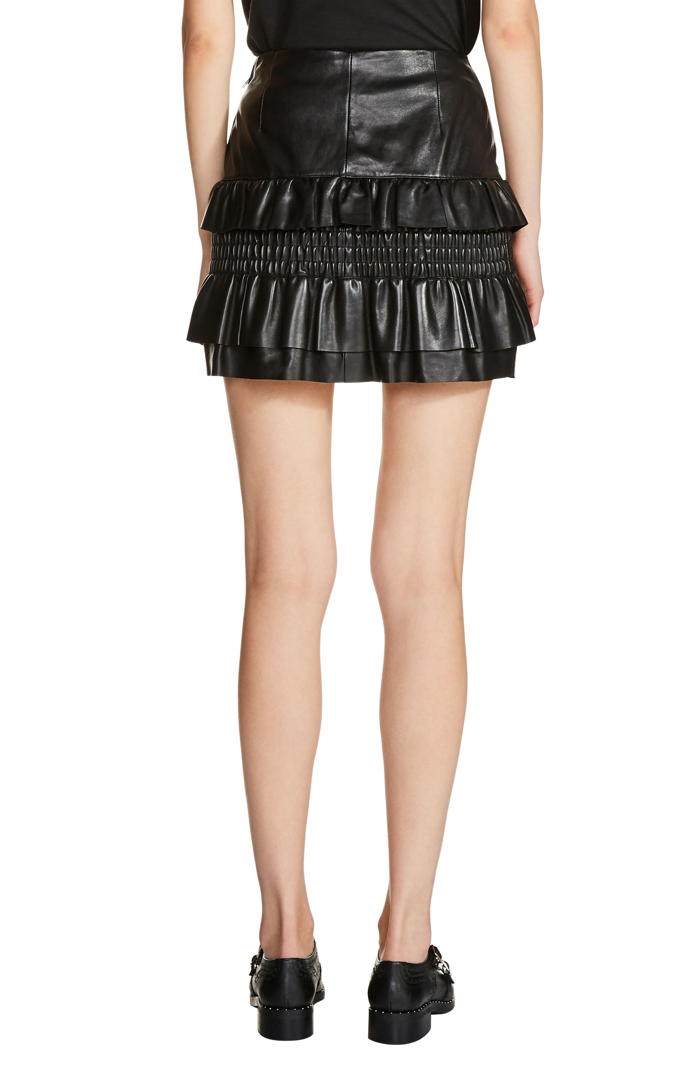 Ruffle Leather Miniskirt,                             Alternate thumbnail 2, color,                             001