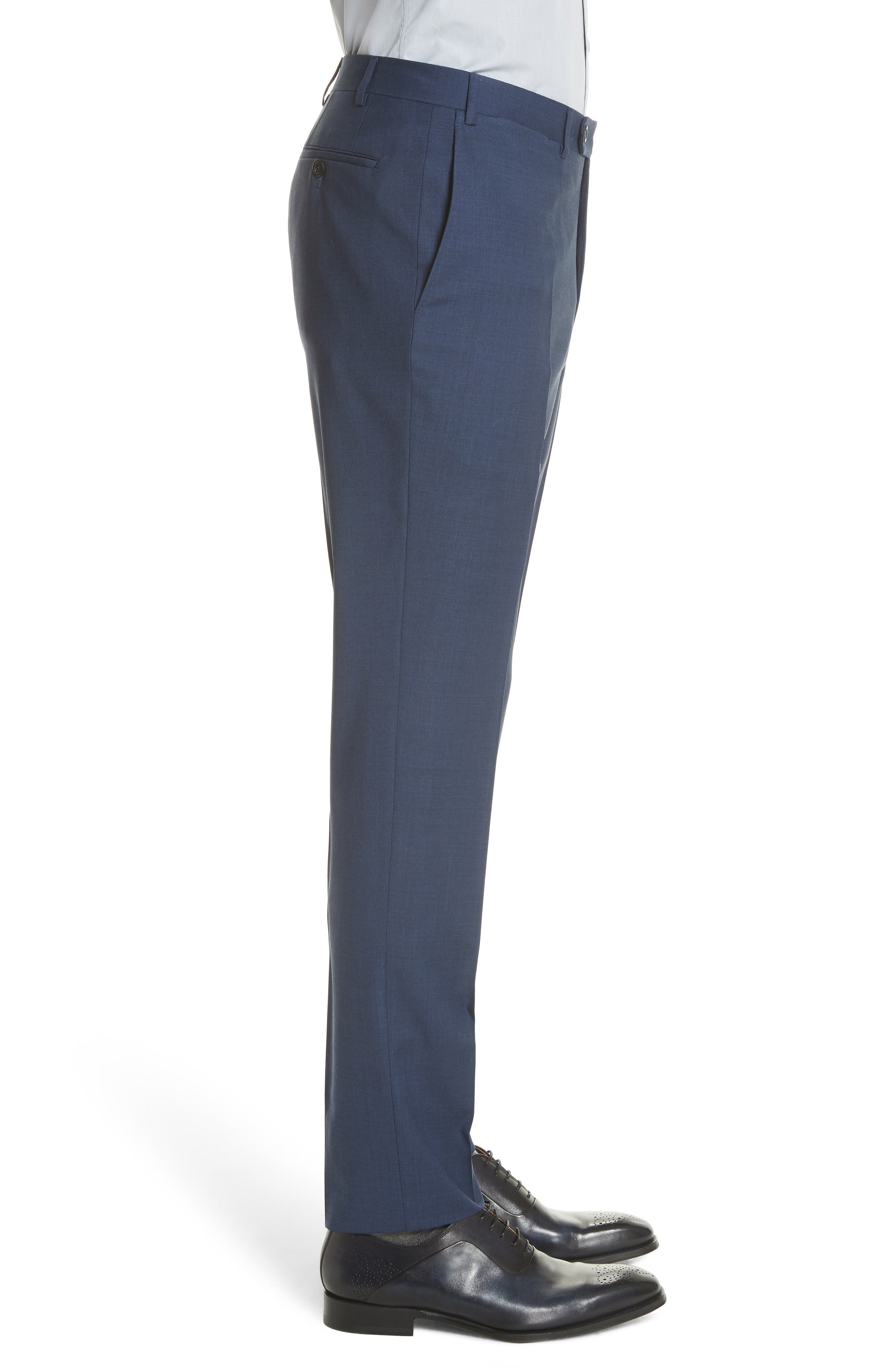 Kei Flat Front Solid Wool Trousers,                             Alternate thumbnail 8, color,