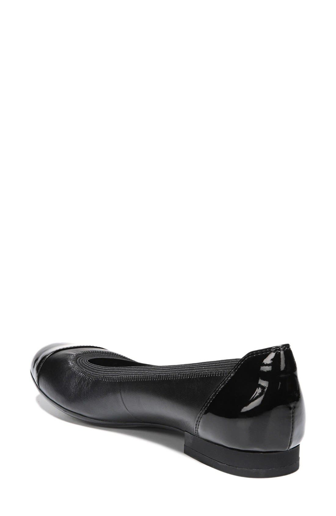 'Therese' Cap Toe Flat,                             Alternate thumbnail 3, color,                             001