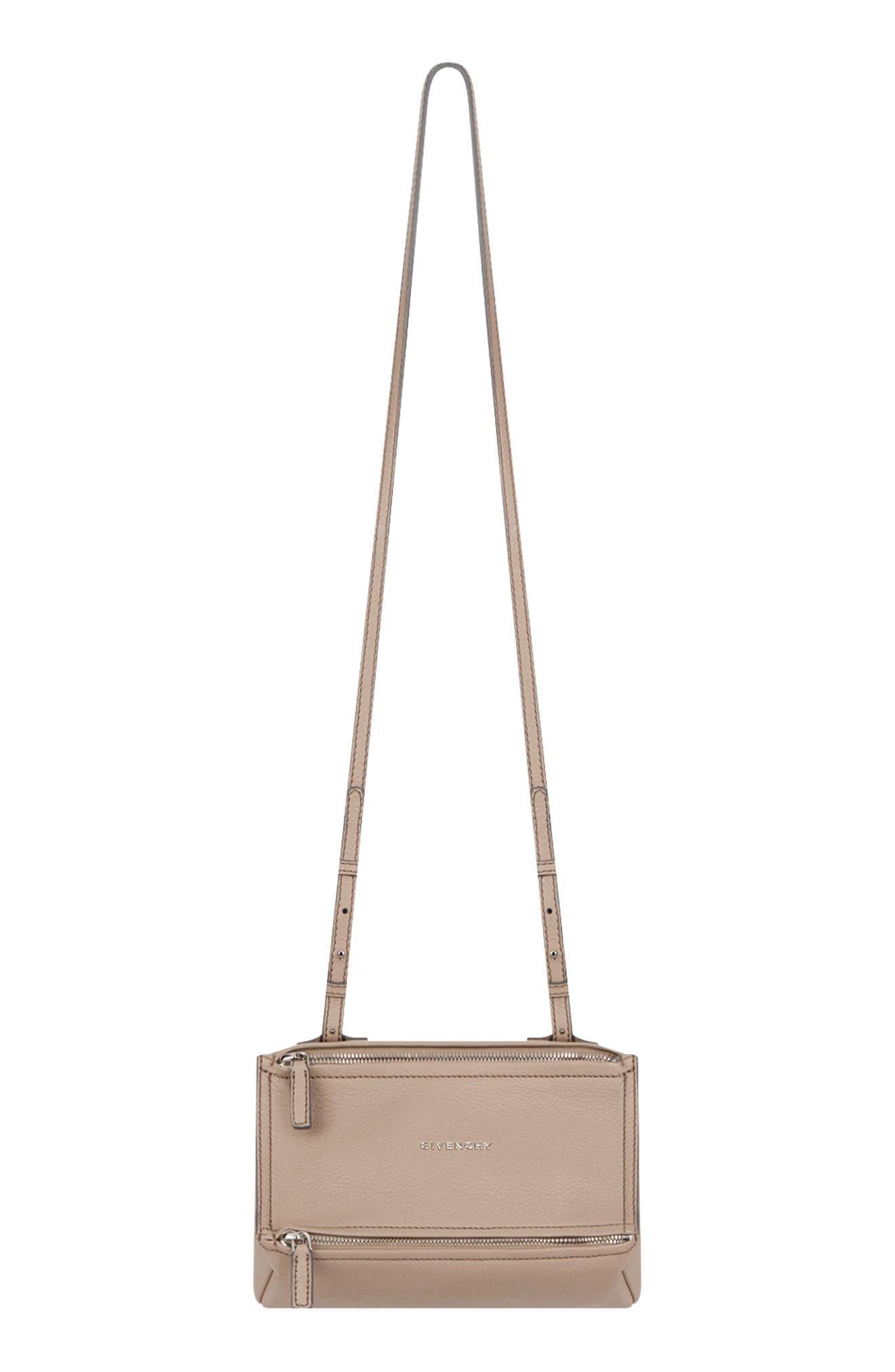 'Mini Pandora' Sugar Leather Shoulder Bag,                             Main thumbnail 1, color,                             POWDER