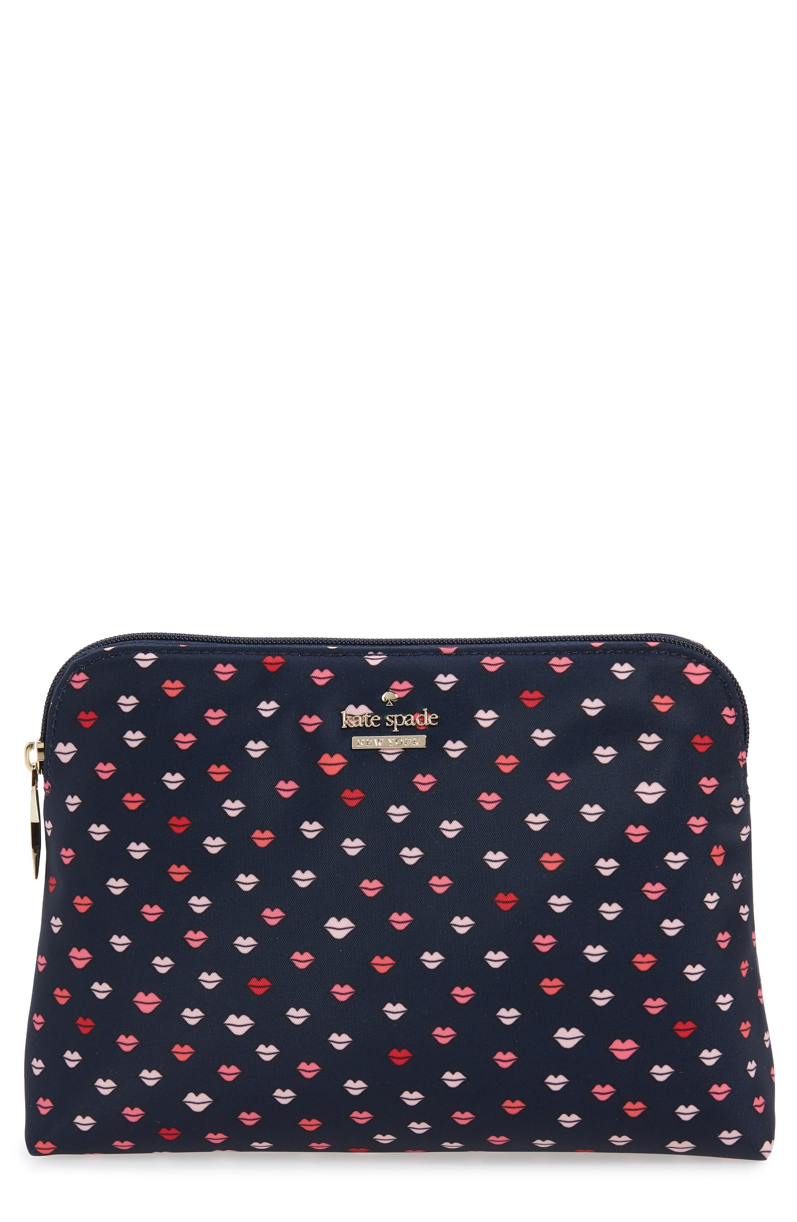 KATE SPADE NEW YORK watson lane small briley cosmetic bag, Main, color, NAVY MULTI
