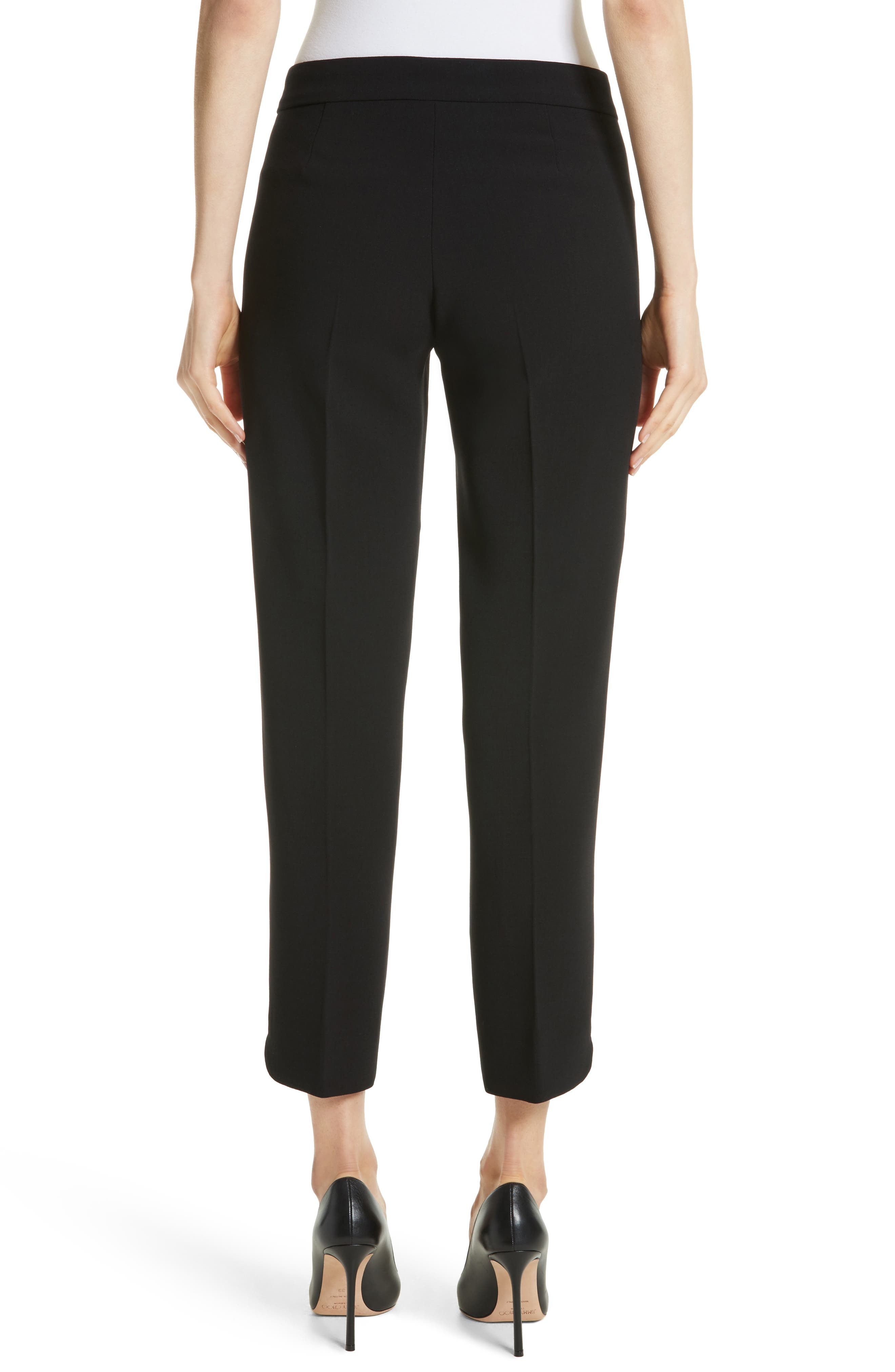 Cagli Stretch Wool Crop Pants,                             Alternate thumbnail 2, color,                             001