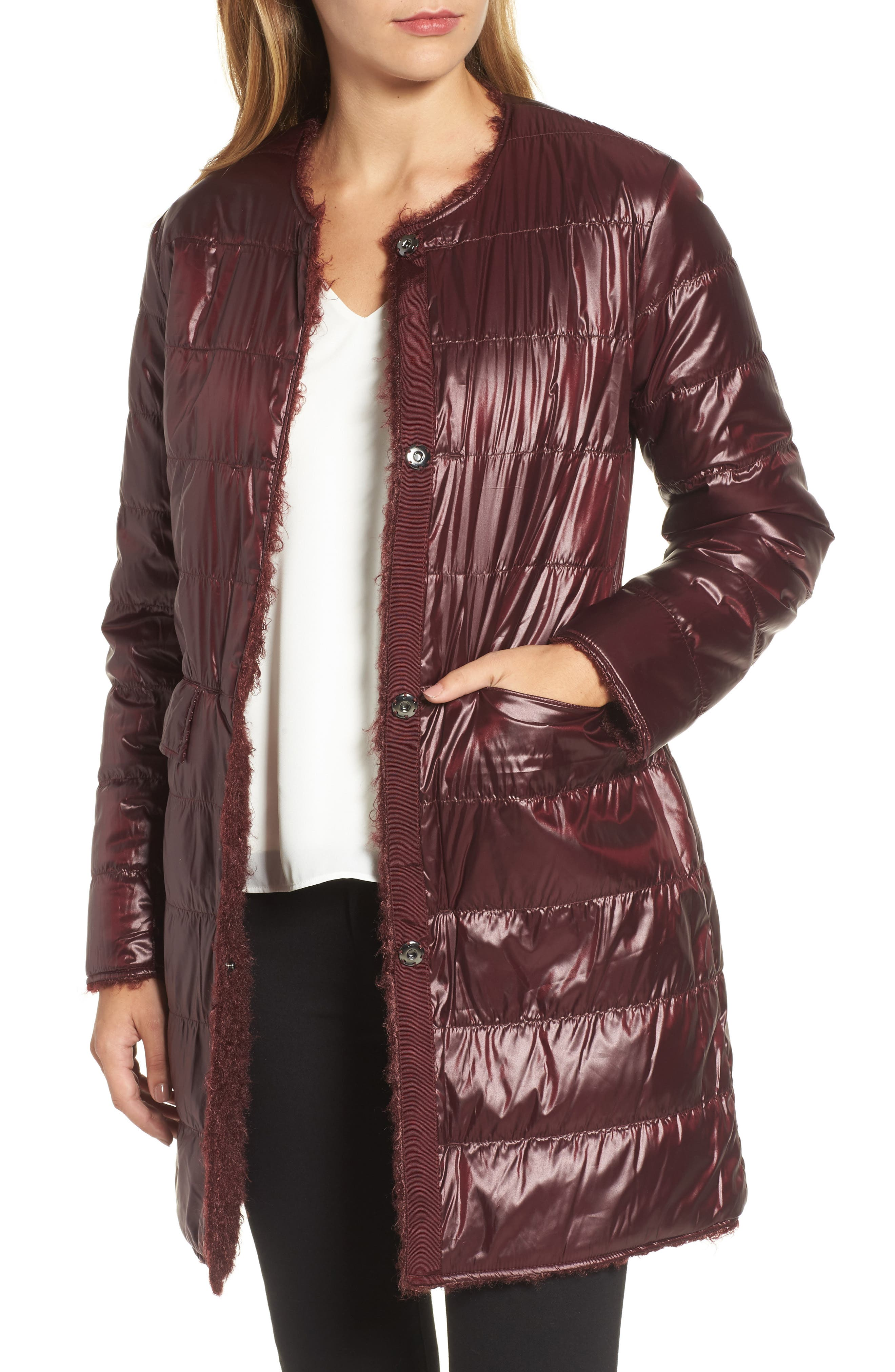 Reversible Faux Fur Coat,                             Alternate thumbnail 4, color,                             602