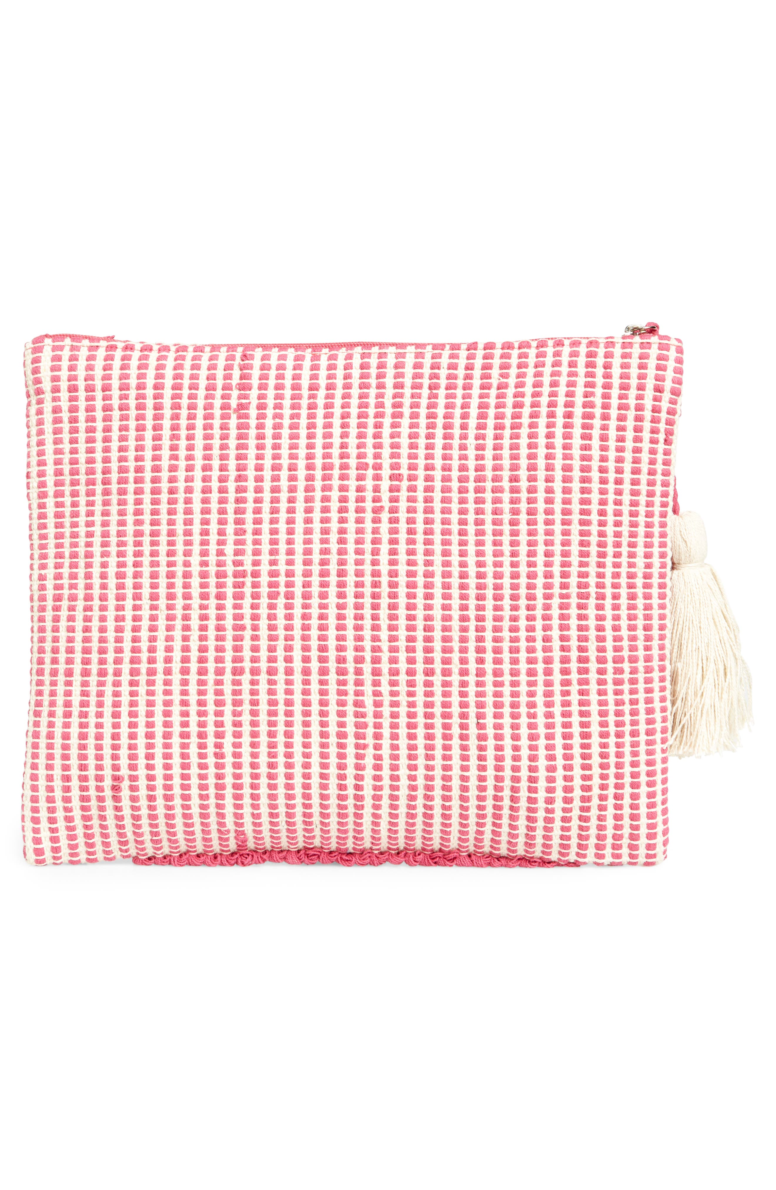 Palisades Tasseled Woven Clutch,                             Alternate thumbnail 3, color,                             655