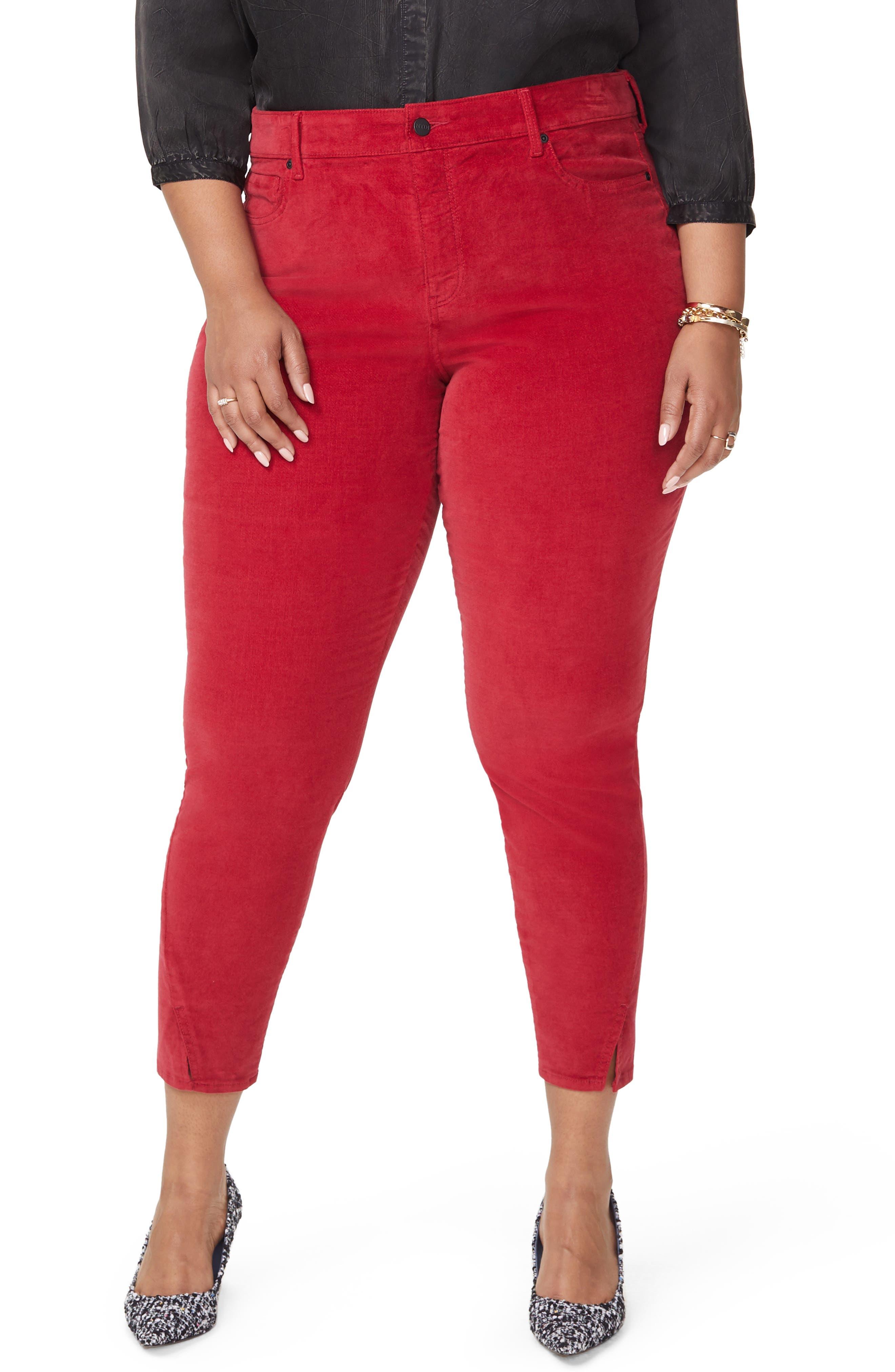 Ami Twist Seam Ankle Slit Velvet Pants,                         Main,                         color, GOOSEBERRY