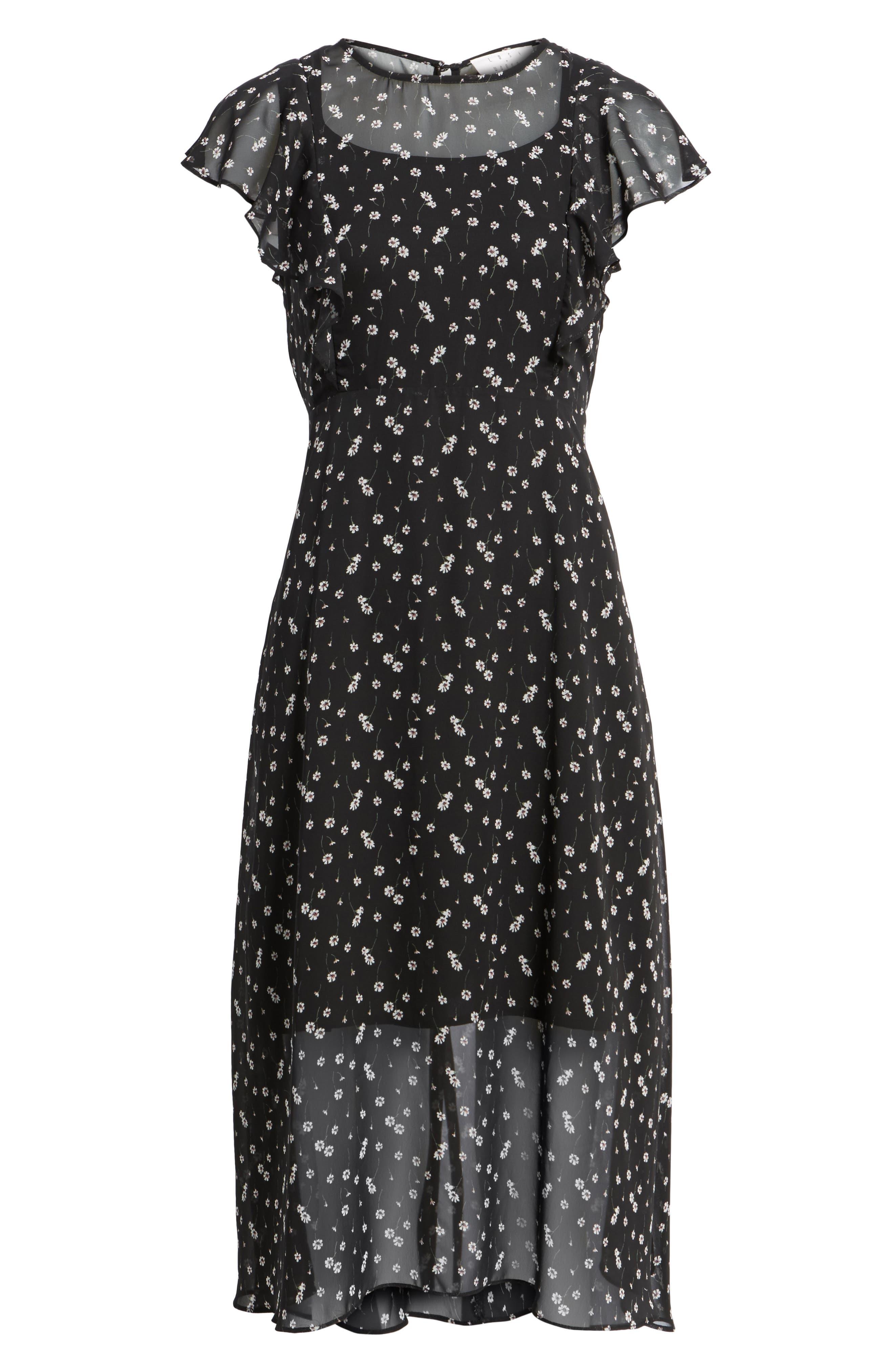 Leona Floral Print Midi Dress,                             Alternate thumbnail 6, color,