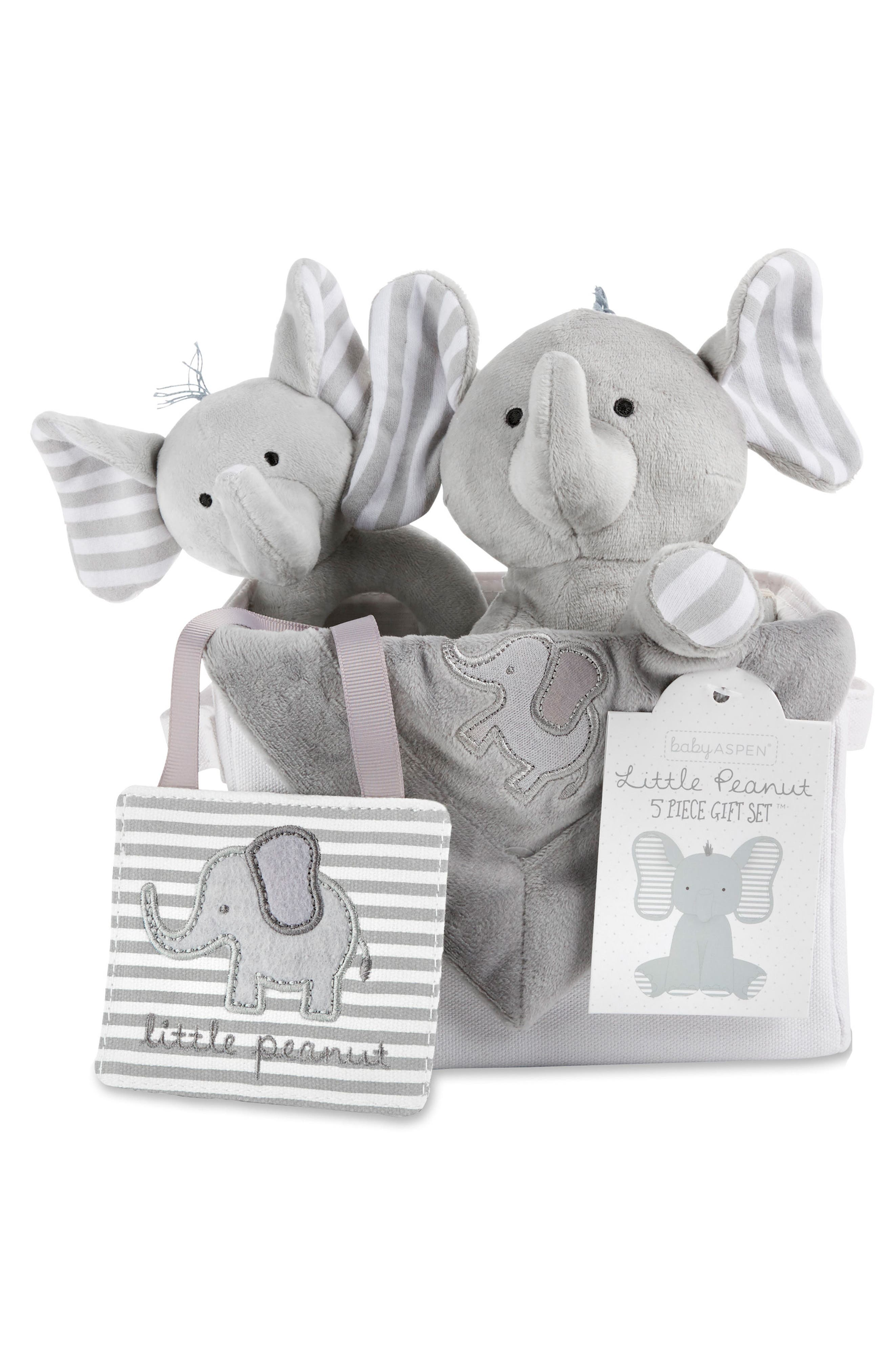 Little Peanut Elephant 5-Piece Gift Set,                             Alternate thumbnail 2, color,                             GREY AND WHITE