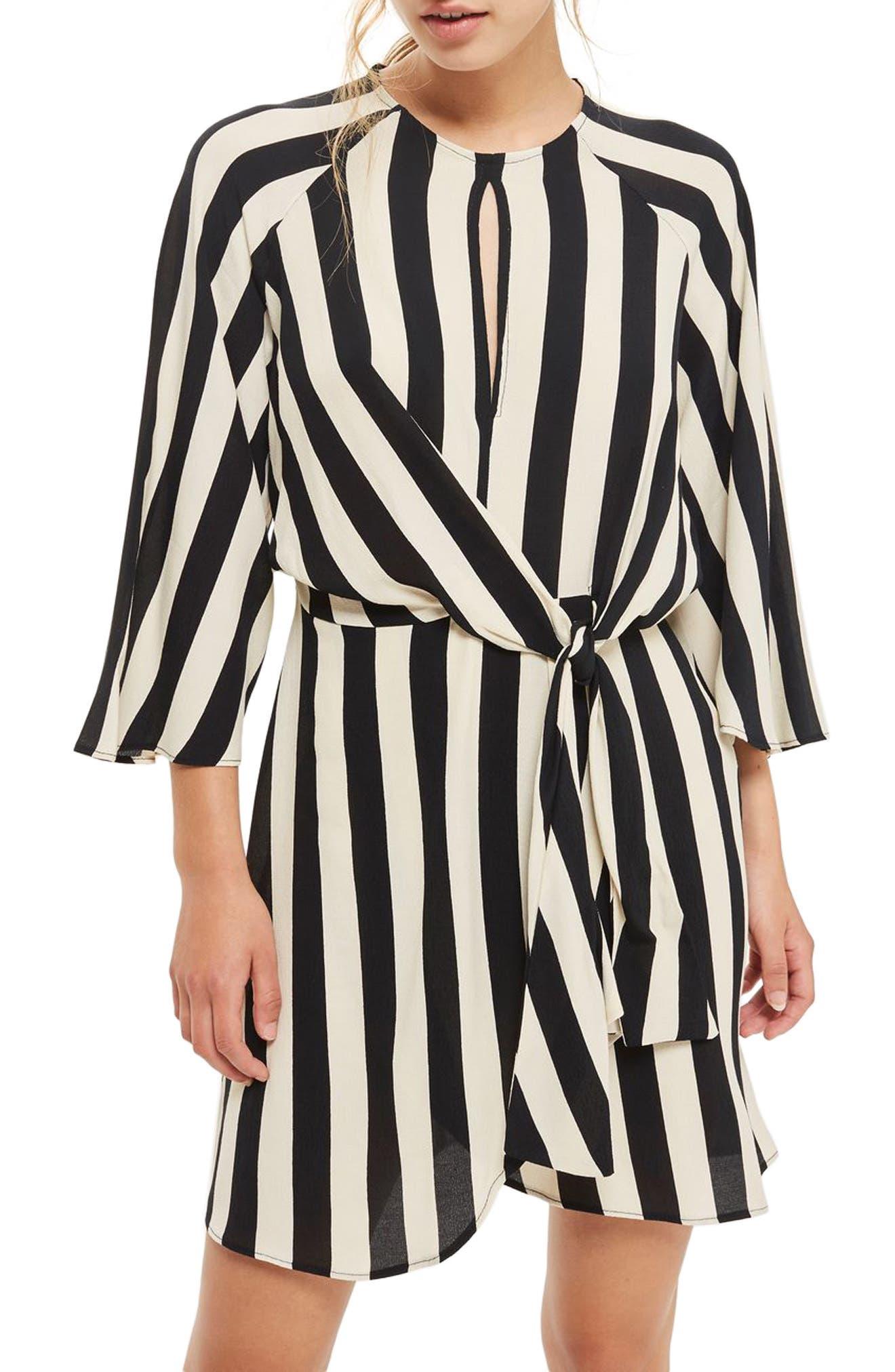 Humbug Stripe Knot Dress,                             Main thumbnail 1, color,                             001