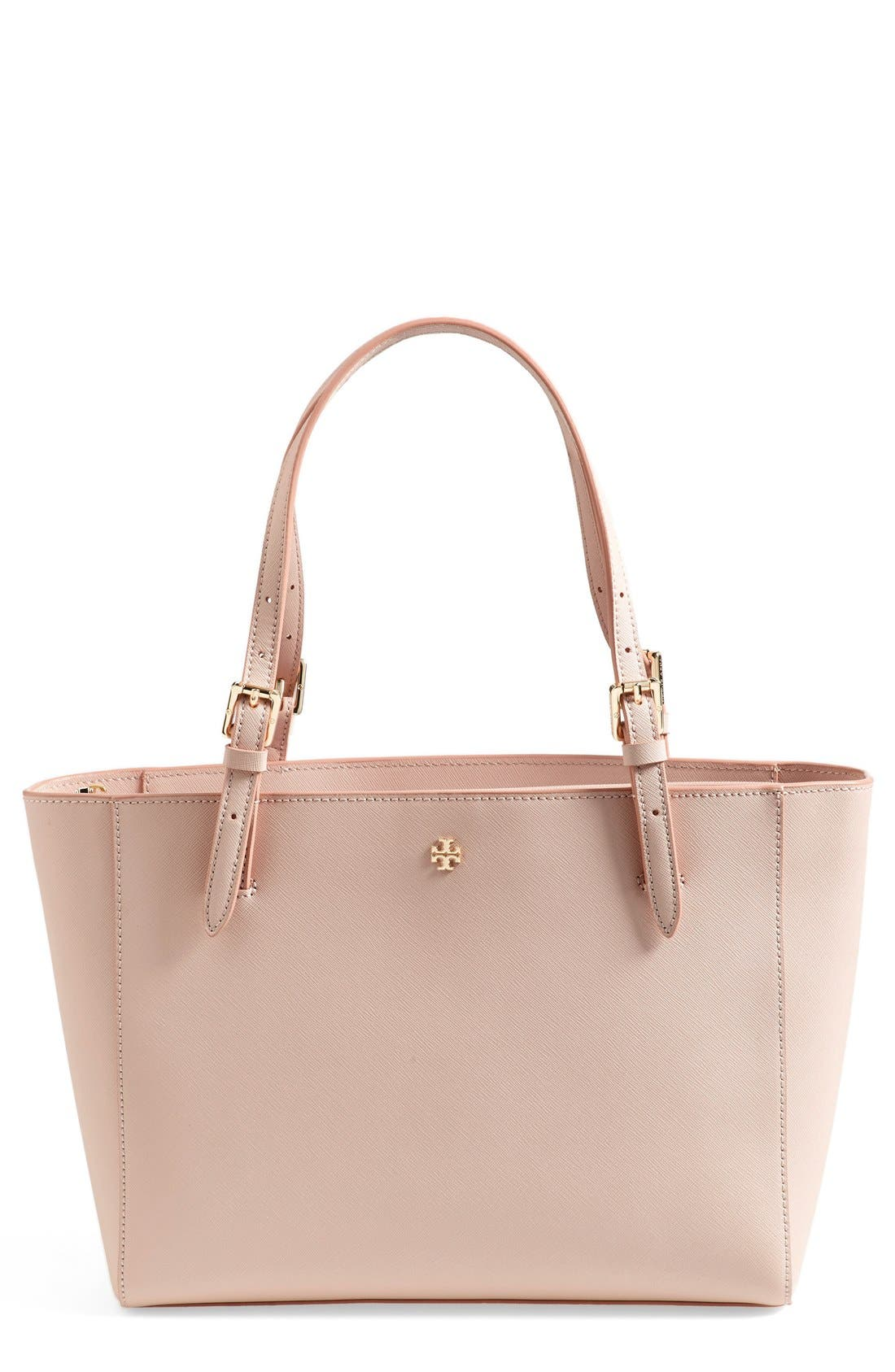 'Small York' Saffiano Leather Buckle Tote,                             Main thumbnail 7, color,