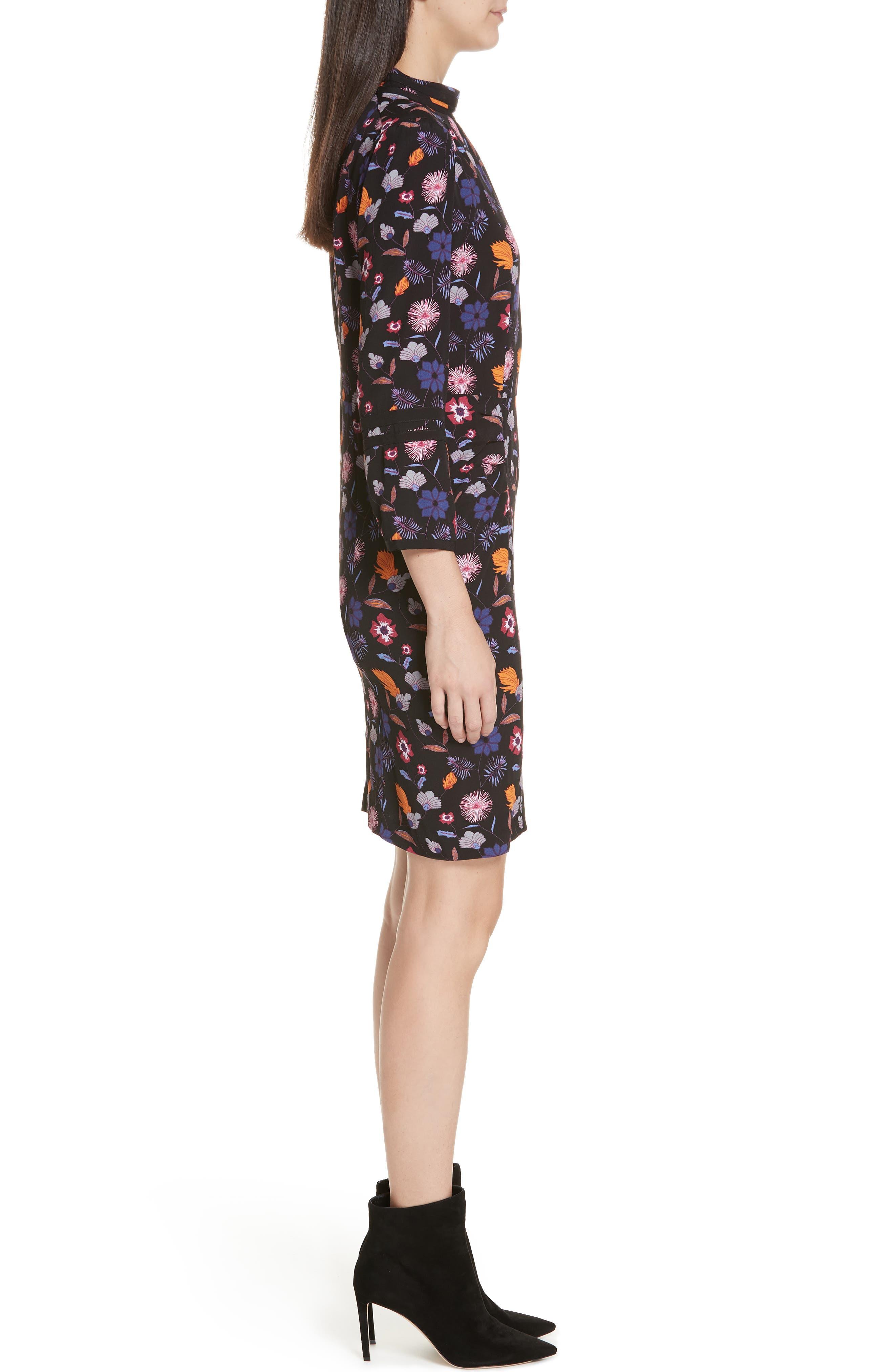 Maha High Neck Botanical Mini Dress,                             Alternate thumbnail 3, color,                             001