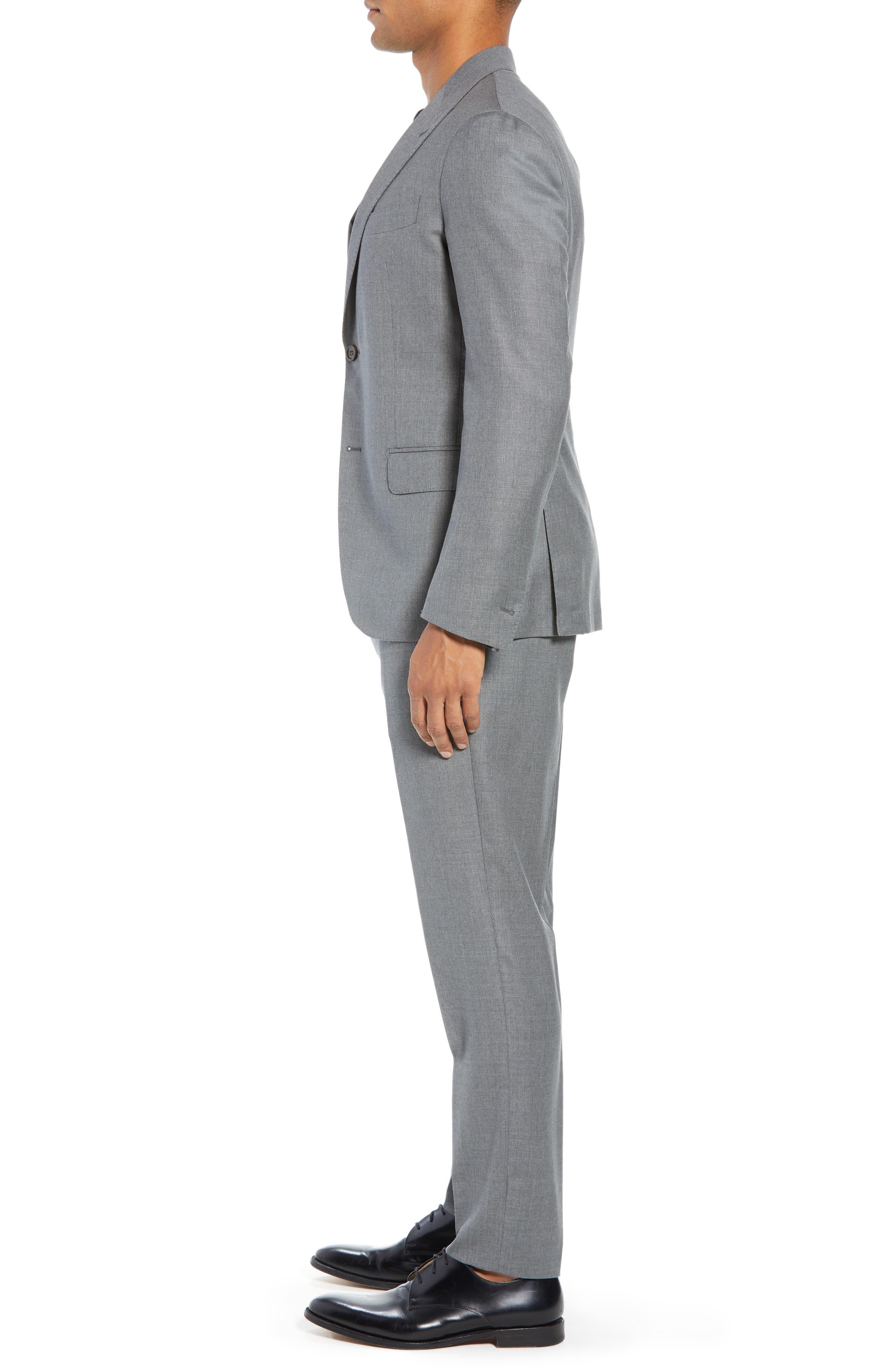 Trim Fit Wool Suit,                             Alternate thumbnail 3, color,                             LIGHT GREY