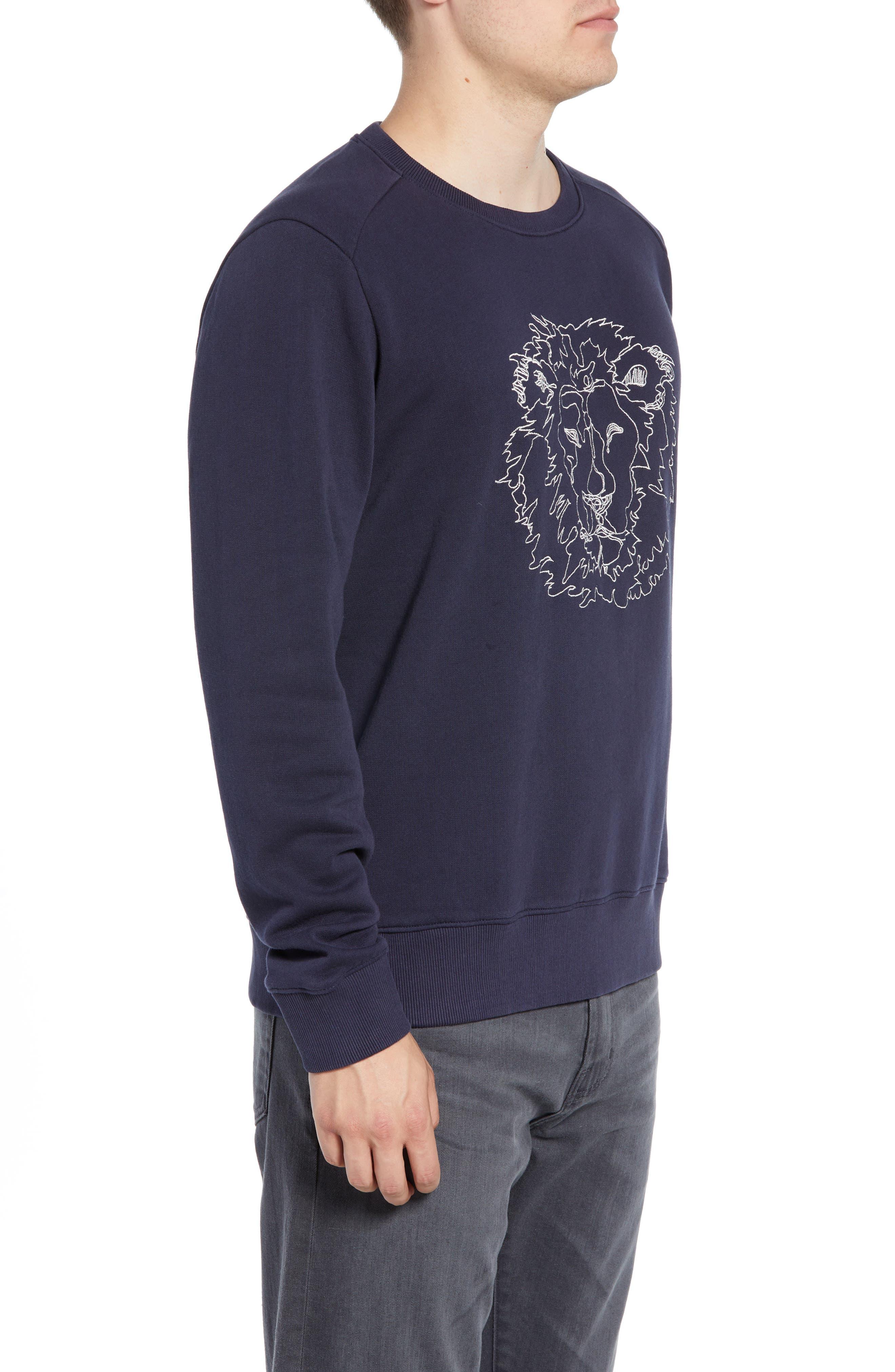 Slim Fit Lion Embroidered Sweatshirt,                             Alternate thumbnail 3, color,                             NAVY BLAZER